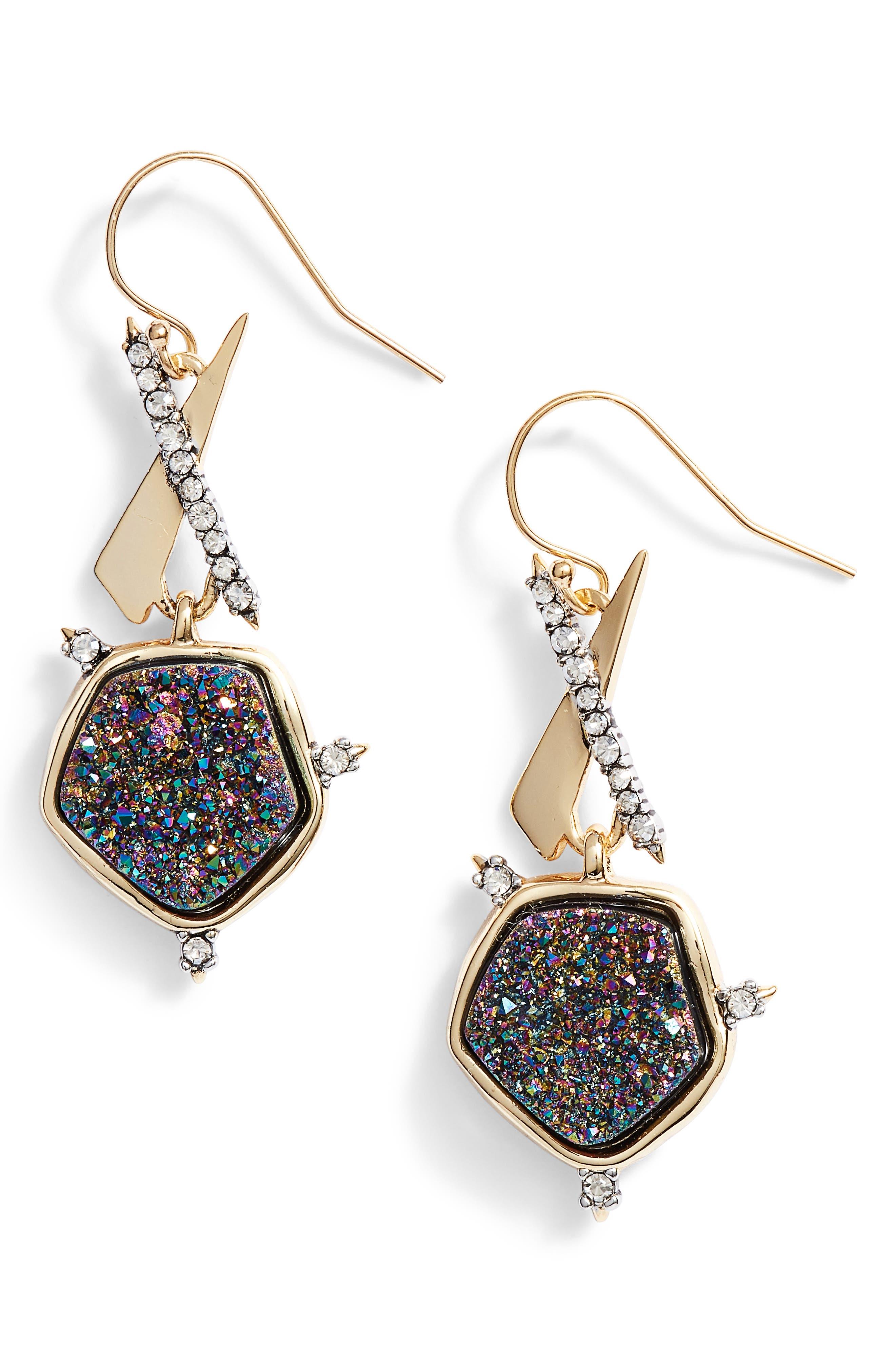 Drusy Drop Earrings,                             Main thumbnail 1, color,                             Gold/ Black