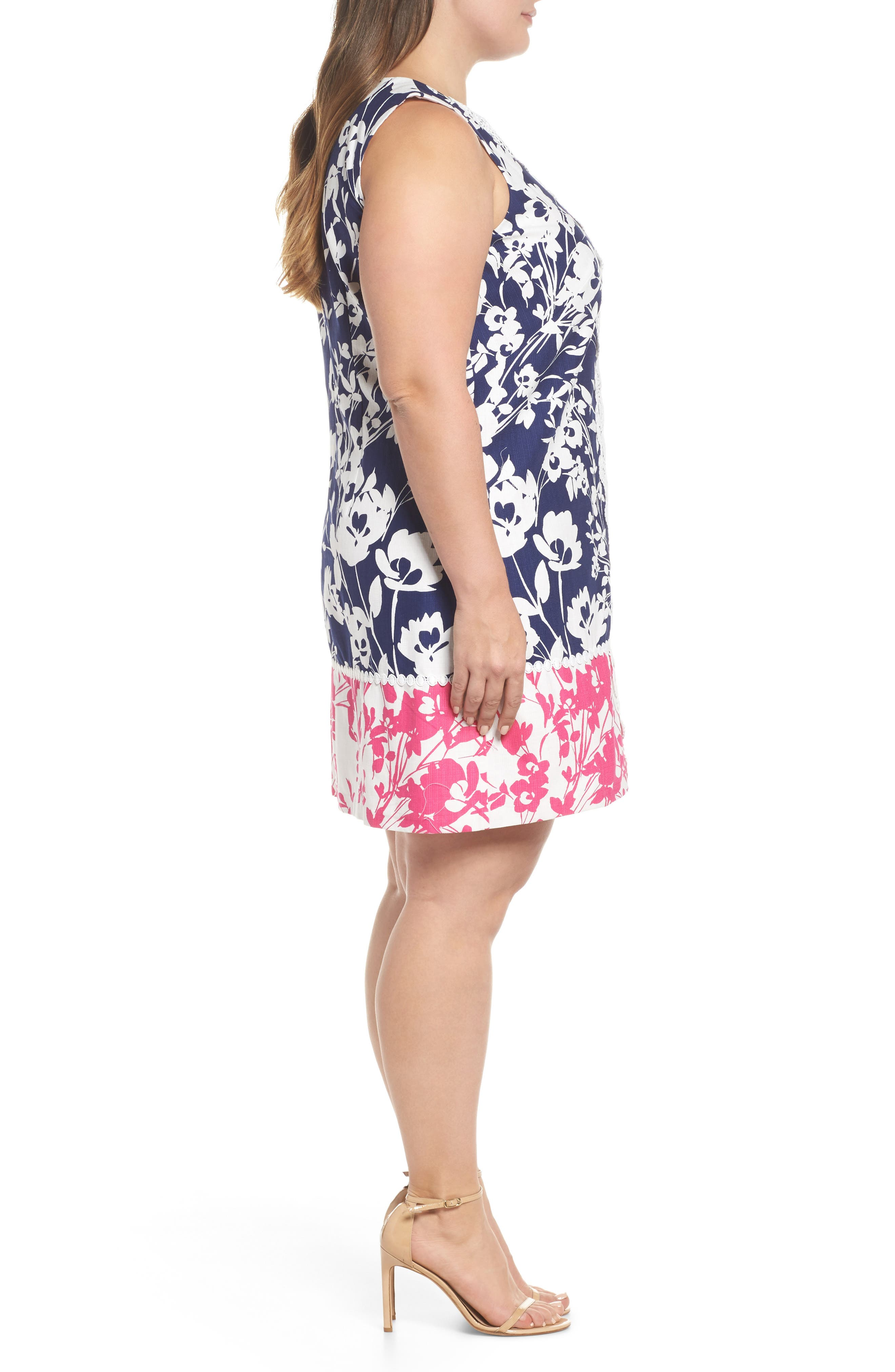 Lace Trim Two Tone Print Shift Dress,                             Alternate thumbnail 3, color,                             Navy/ Pink