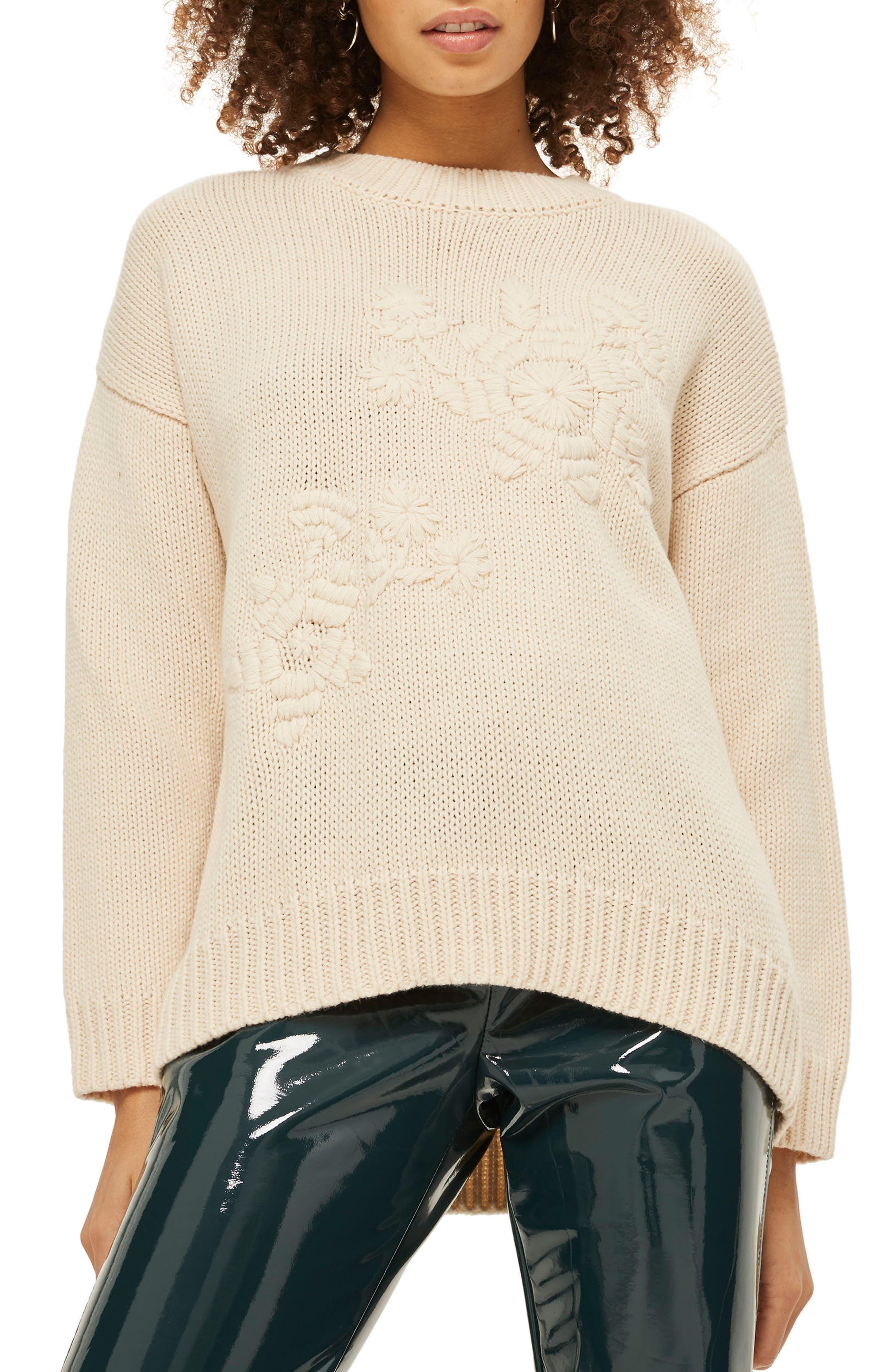 Tonal Embroidered Sweater,                             Main thumbnail 1, color,                             Cream