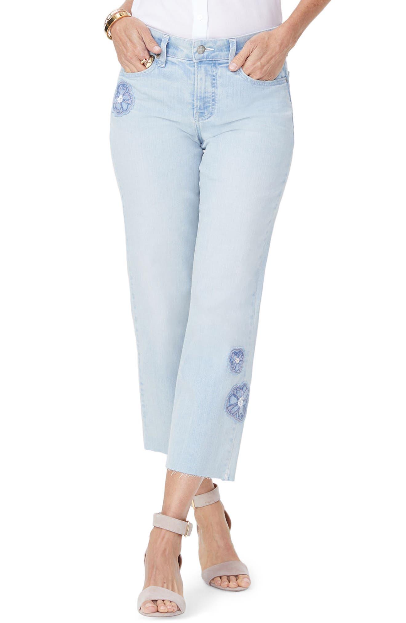 Jenna Floral Appliqué Raw Edge Crop Jeans,                         Main,                         color, Palm Desert