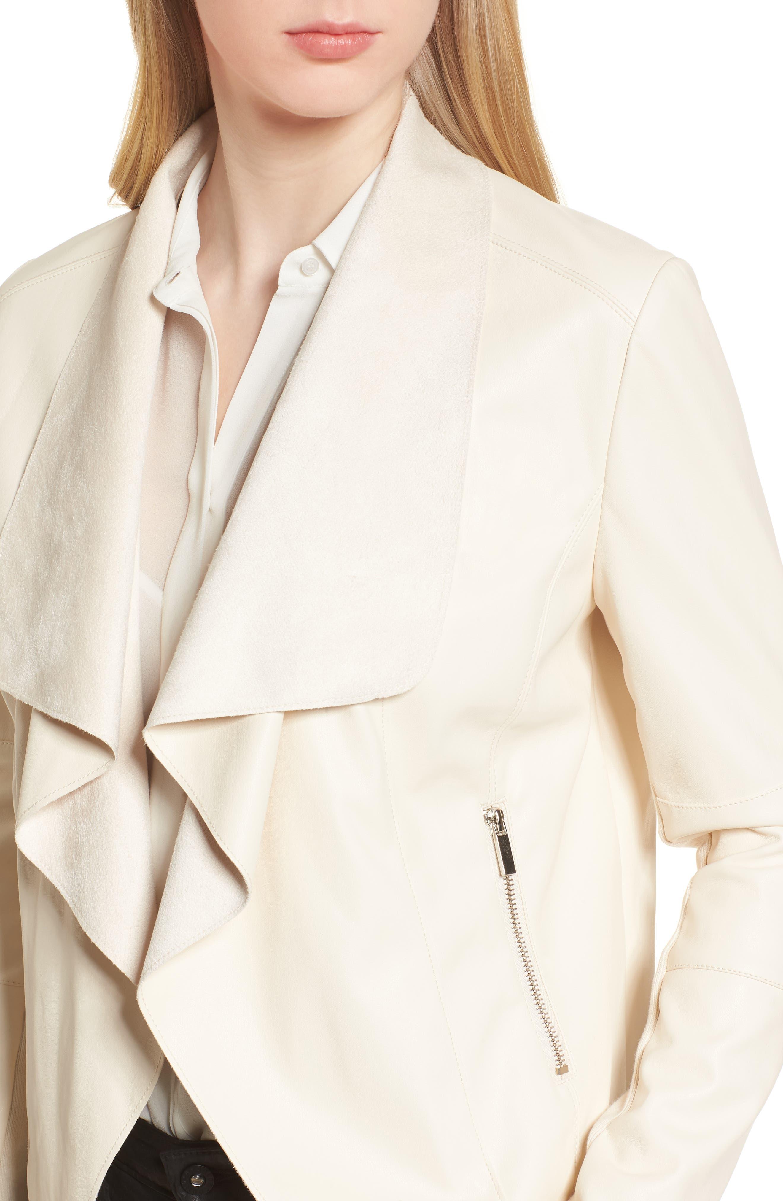 Drape Faux Leather & Faux Suede Jacket,                             Alternate thumbnail 4, color,                             Cream