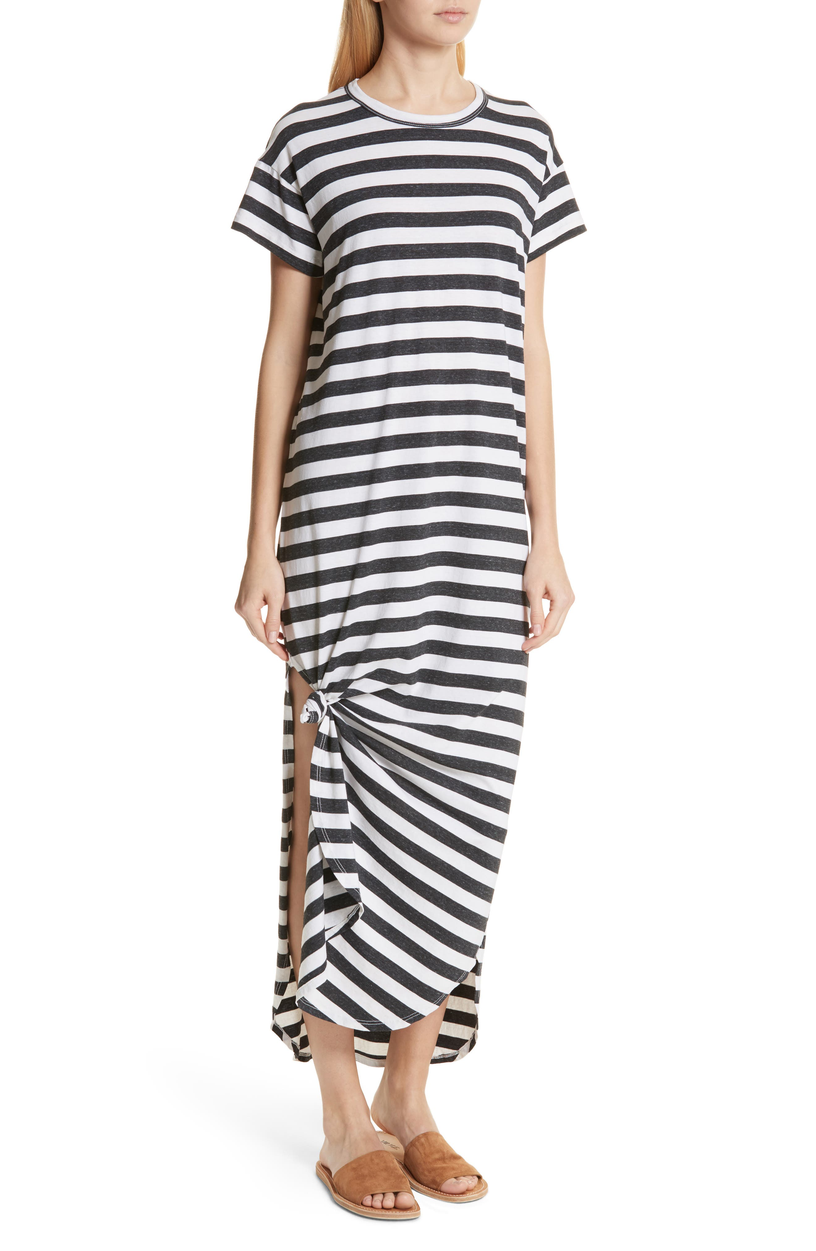 The Knotted Tee Dress,                             Alternate thumbnail 5, color,                             Charcoal Stripe
