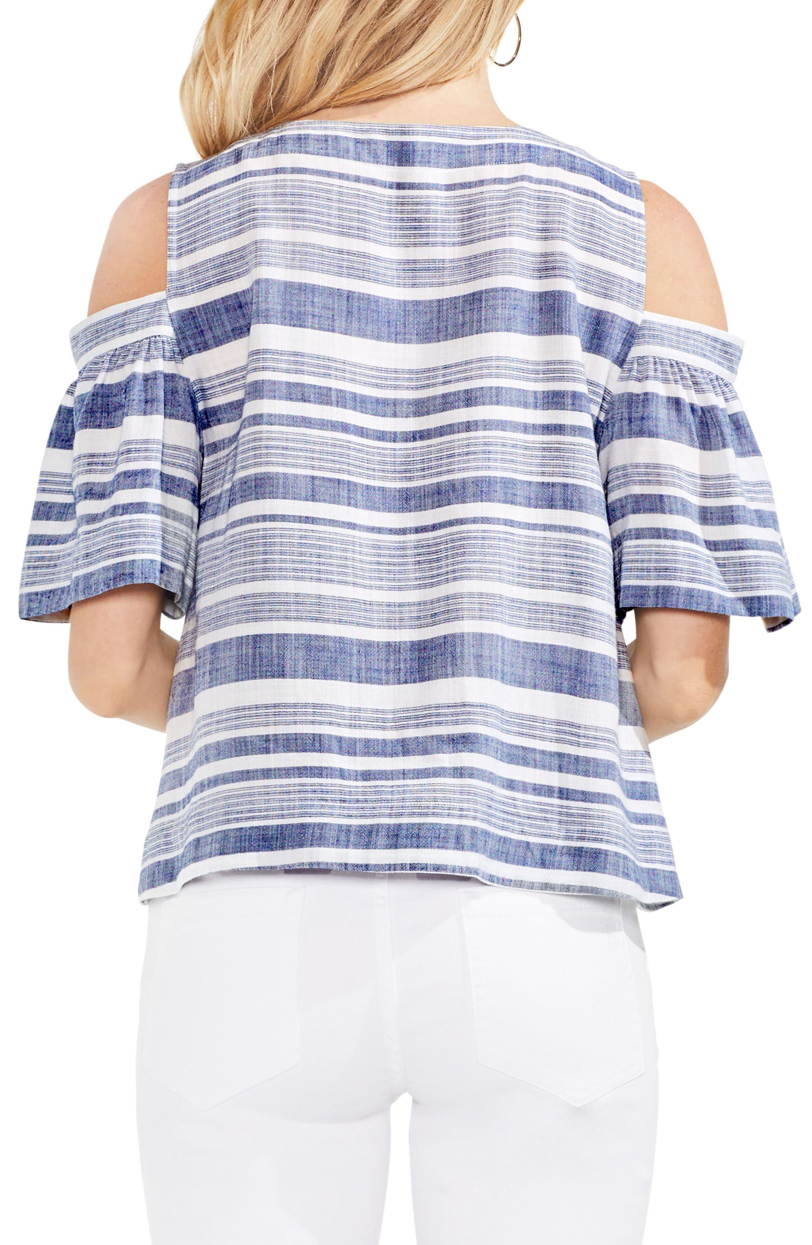 Stripe Cold Shoulder Lace-Up Blouse,                             Alternate thumbnail 2, color,                             High Tide