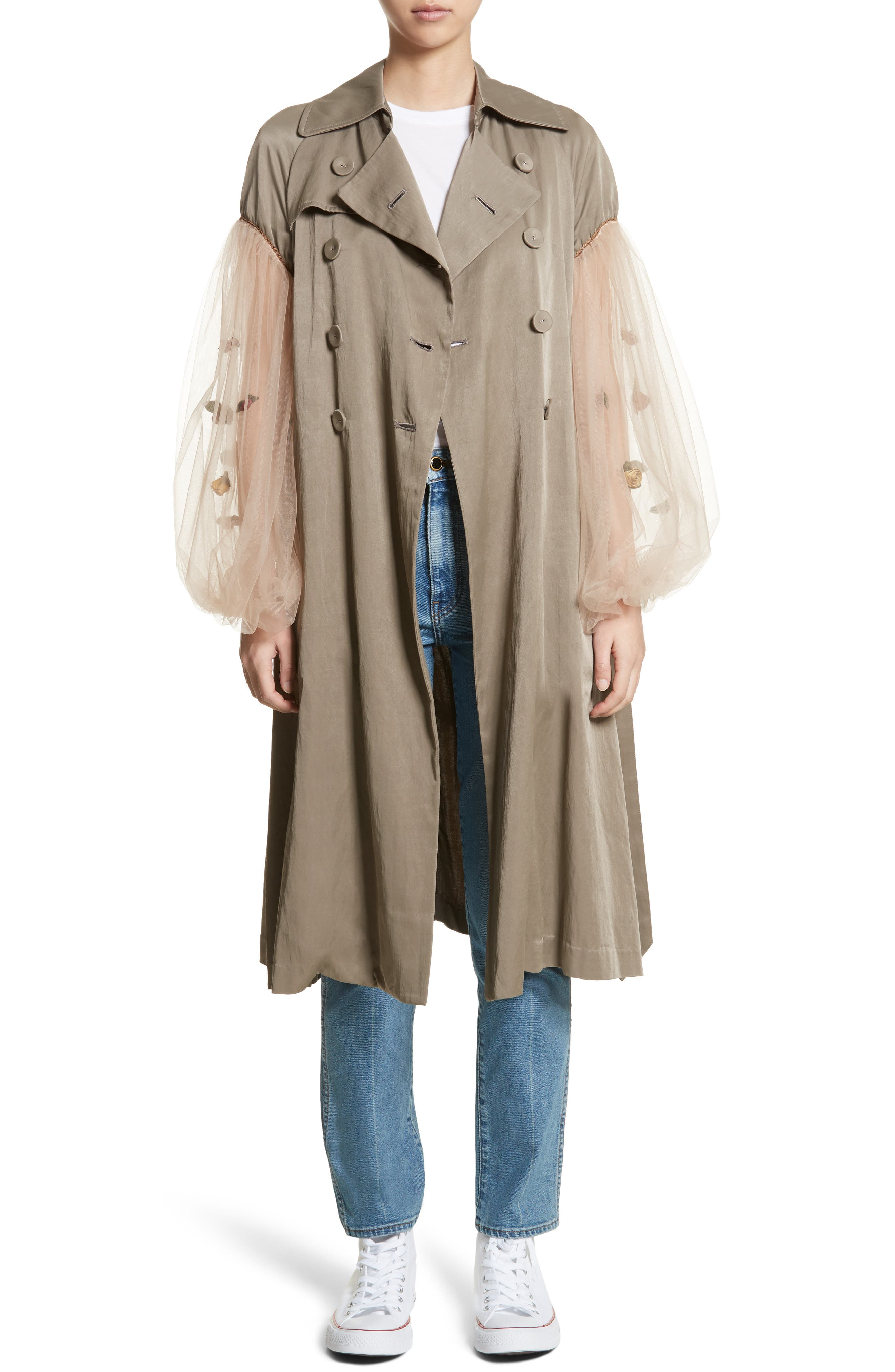 Rose Embroidered Tulle Sleeve Trench Coat,                             Main thumbnail 1, color,                             Beige