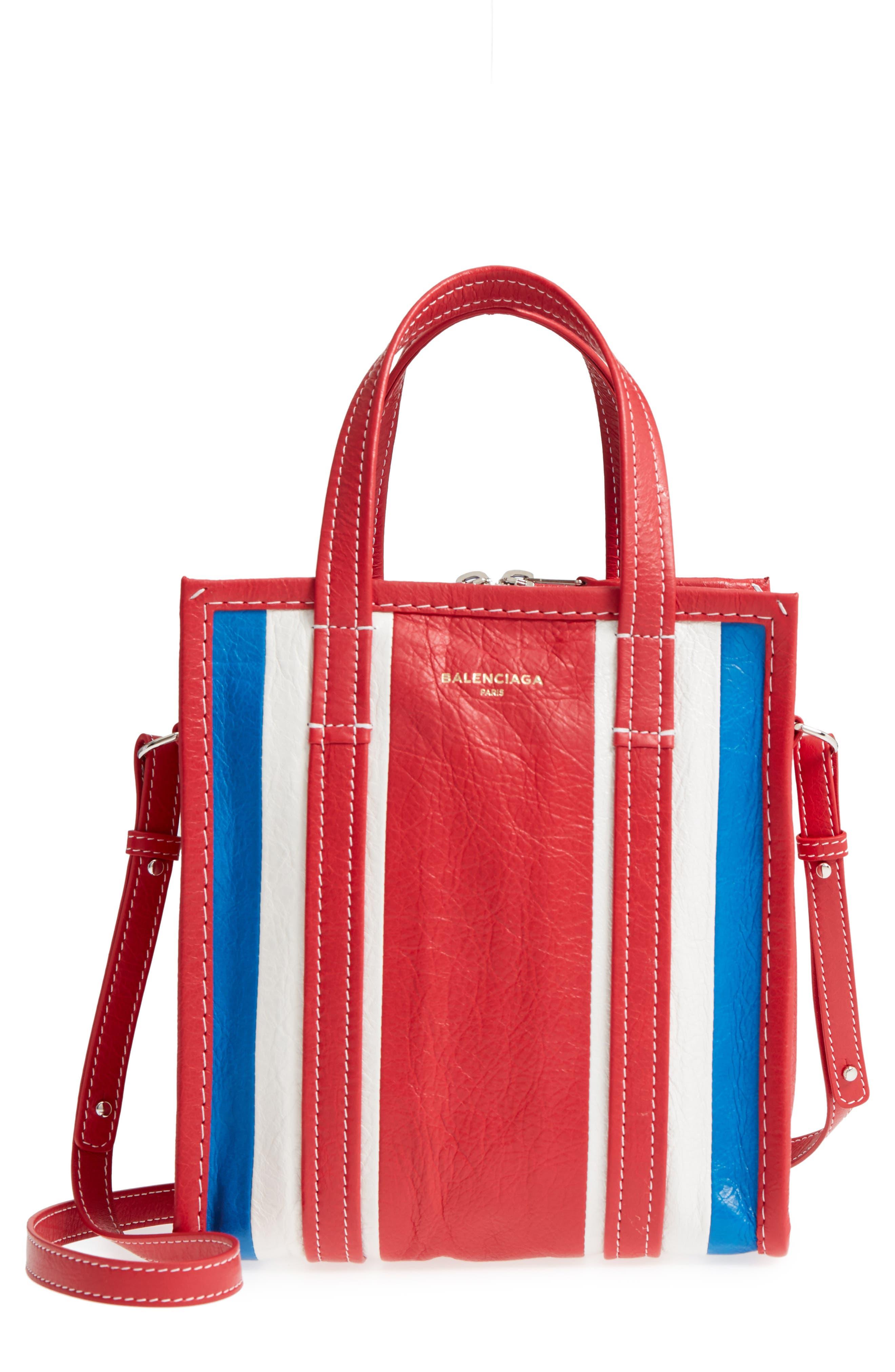 Extra Small Bazar Leather AJ Shopper,                             Main thumbnail 1, color,                             Blue/ Blanc/ Rouge