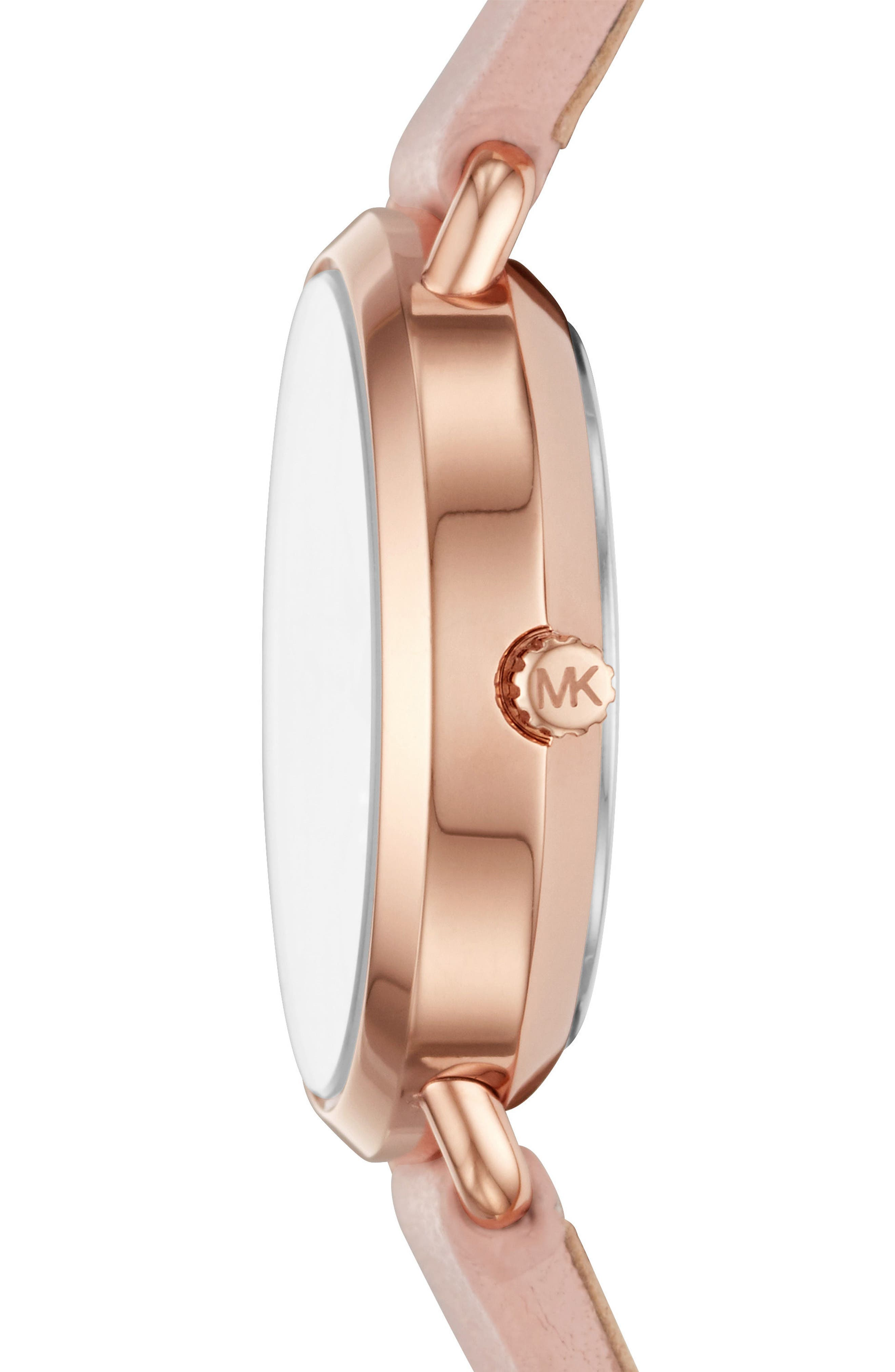 Mini Portia Leather Strap Watch, 28mm,                             Alternate thumbnail 2, color,                             Pink/ Gold