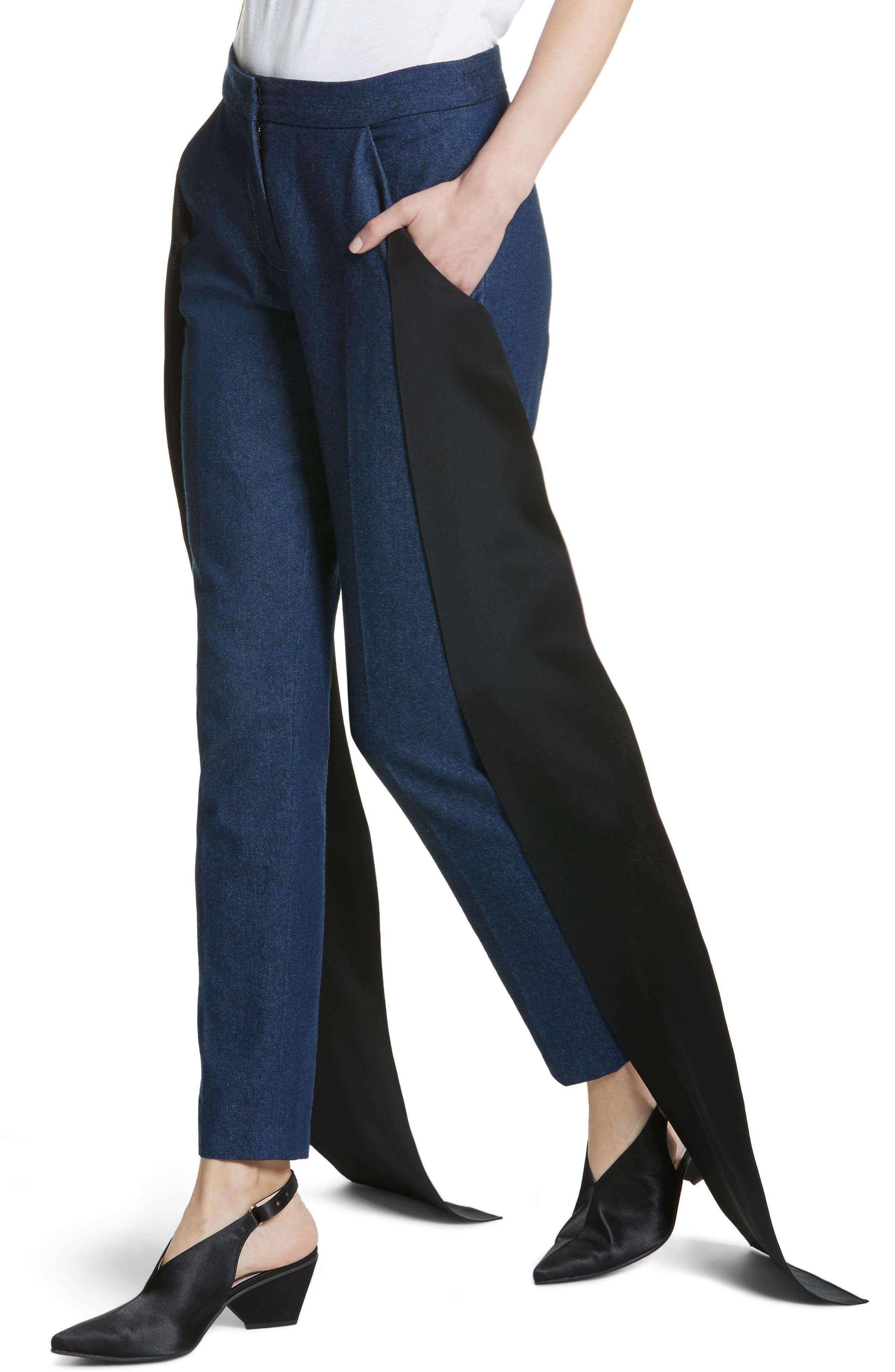 Mojave Side Panel Skinny Jeans,                             Alternate thumbnail 6, color,                             Dark Wash Denim
