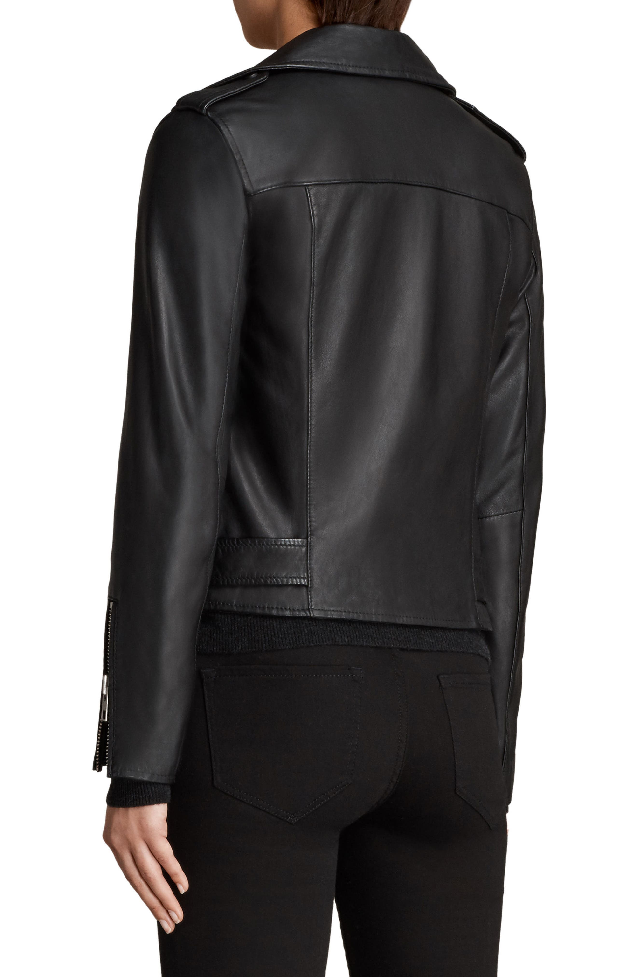 Balfern Leather Biker Jacket,                             Alternate thumbnail 2, color,                             Black