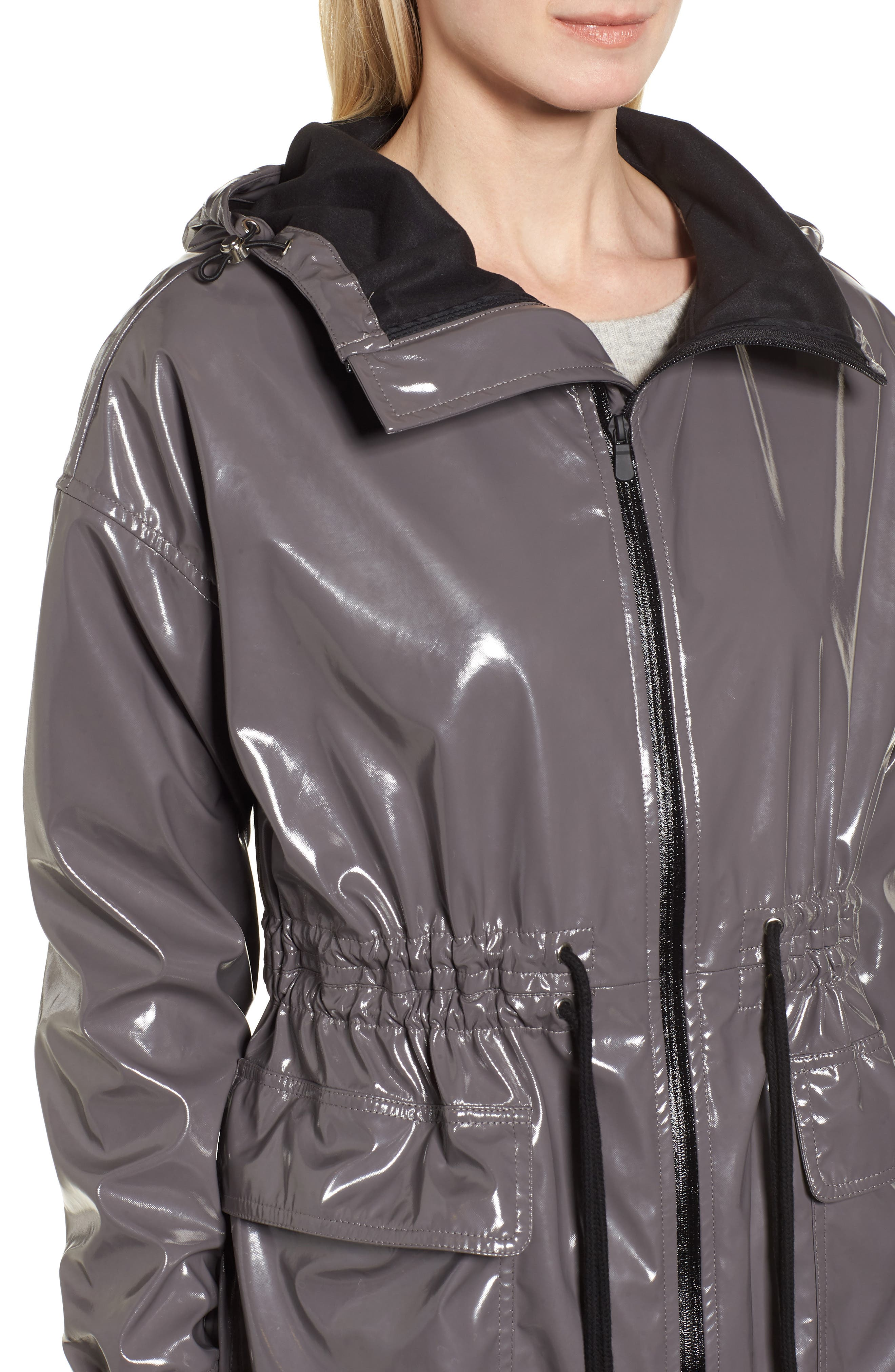 Fawn Patent Hooded Raincoat,                             Alternate thumbnail 4, color,                             Steel