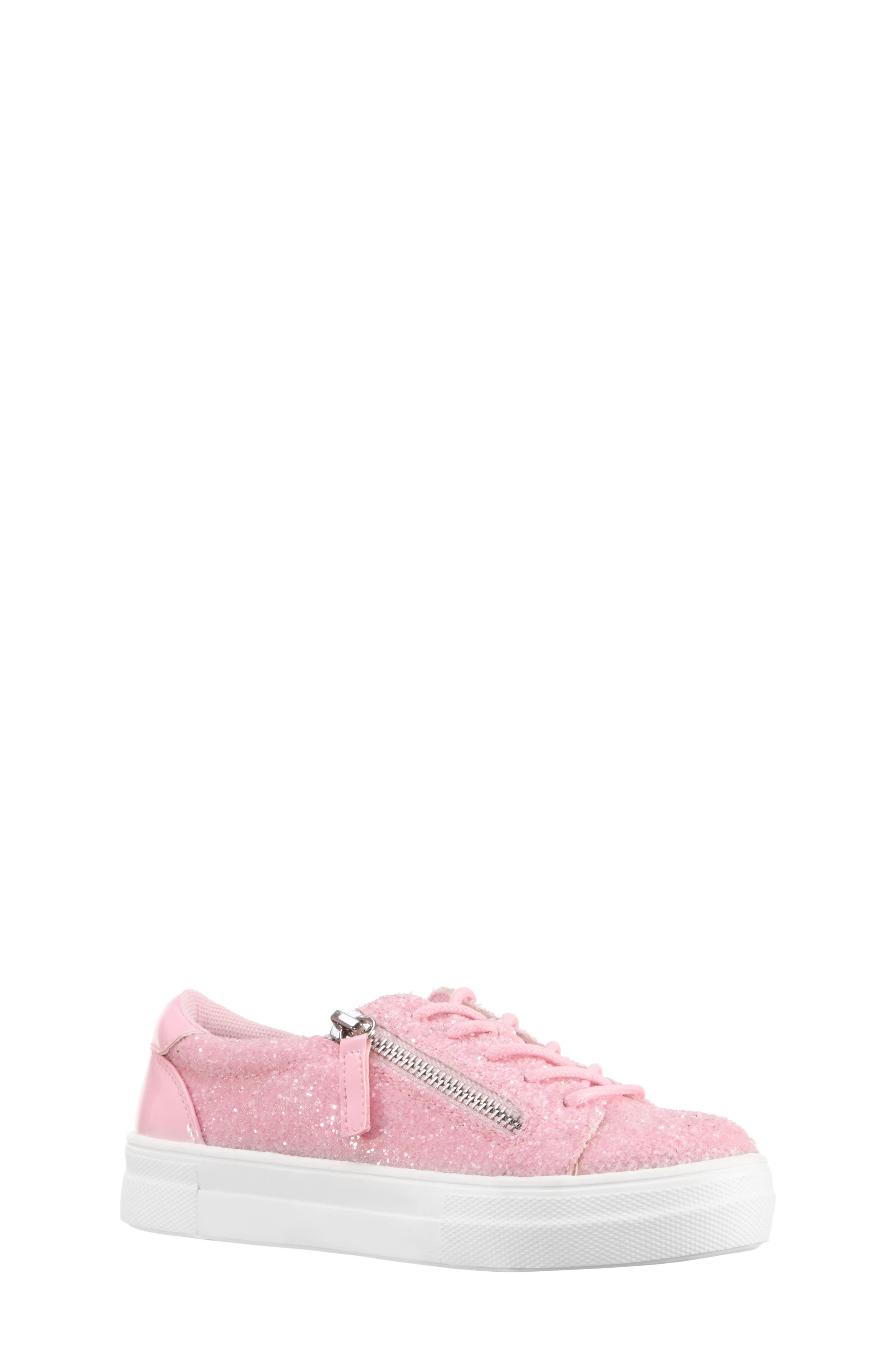 Jennalyn Glitter Sneaker,                         Main,                         color, Light Pink Chunky Glitter