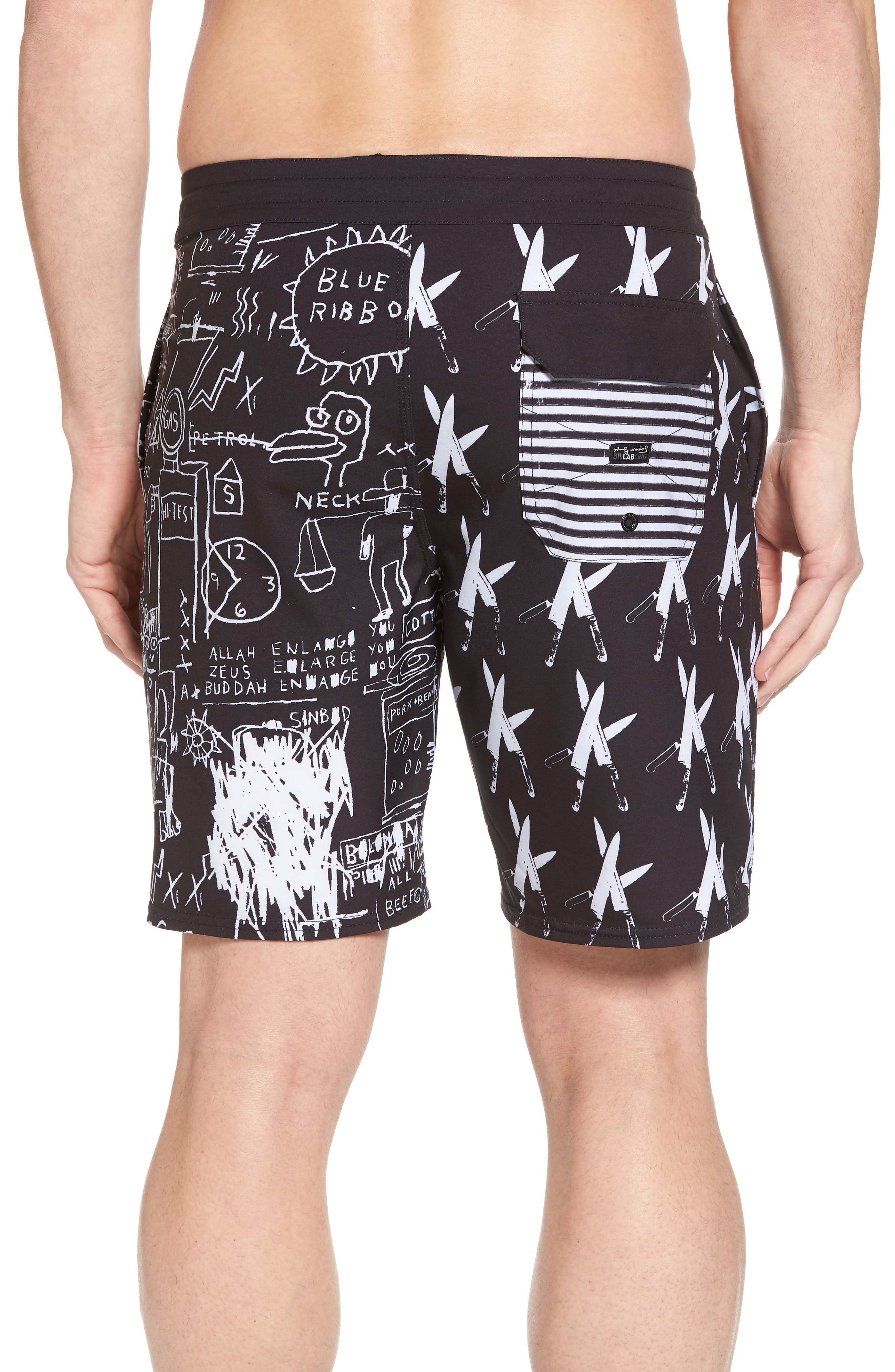 x Warhol Knives Lo Tides Board Shorts,                             Alternate thumbnail 2, color,                             Black/ White