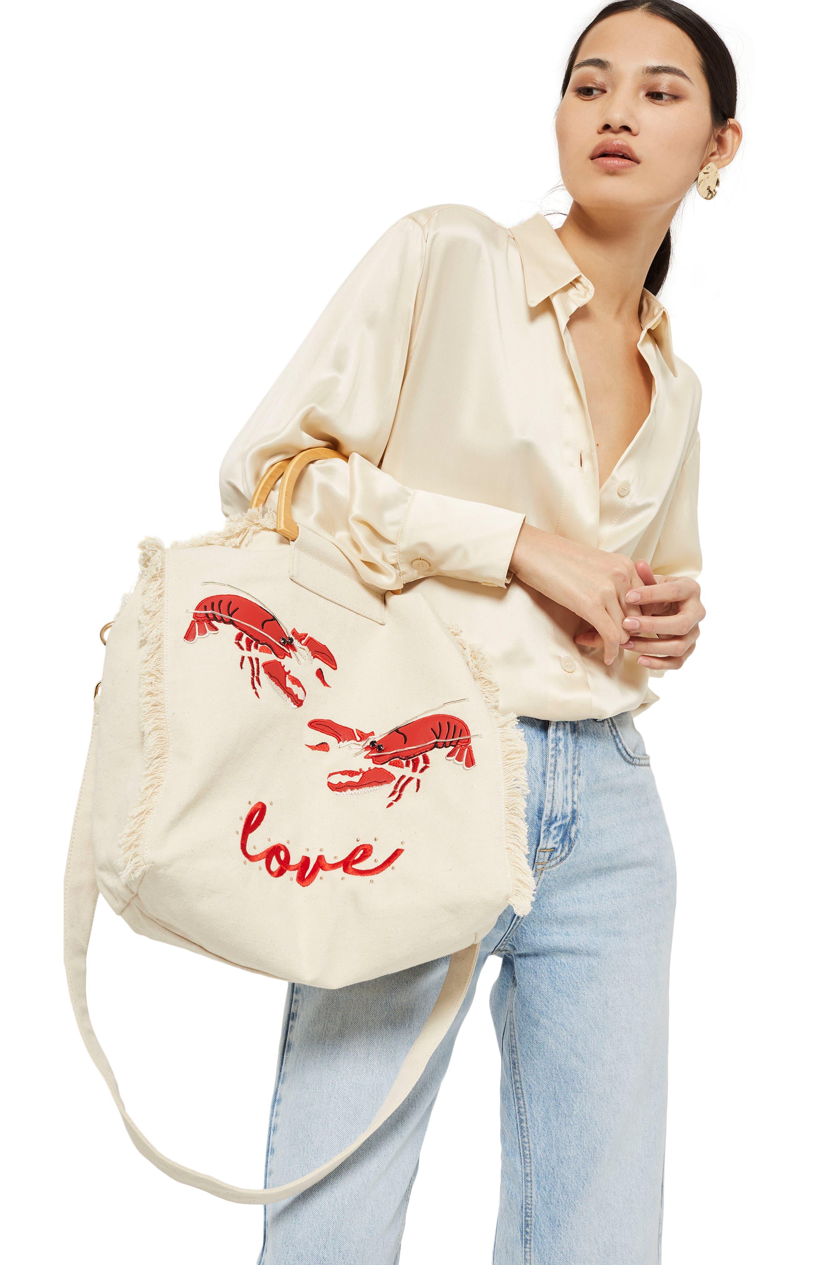 Bobby Lobster Love Canvas Shopper,                             Alternate thumbnail 2, color,                             Nude Multi