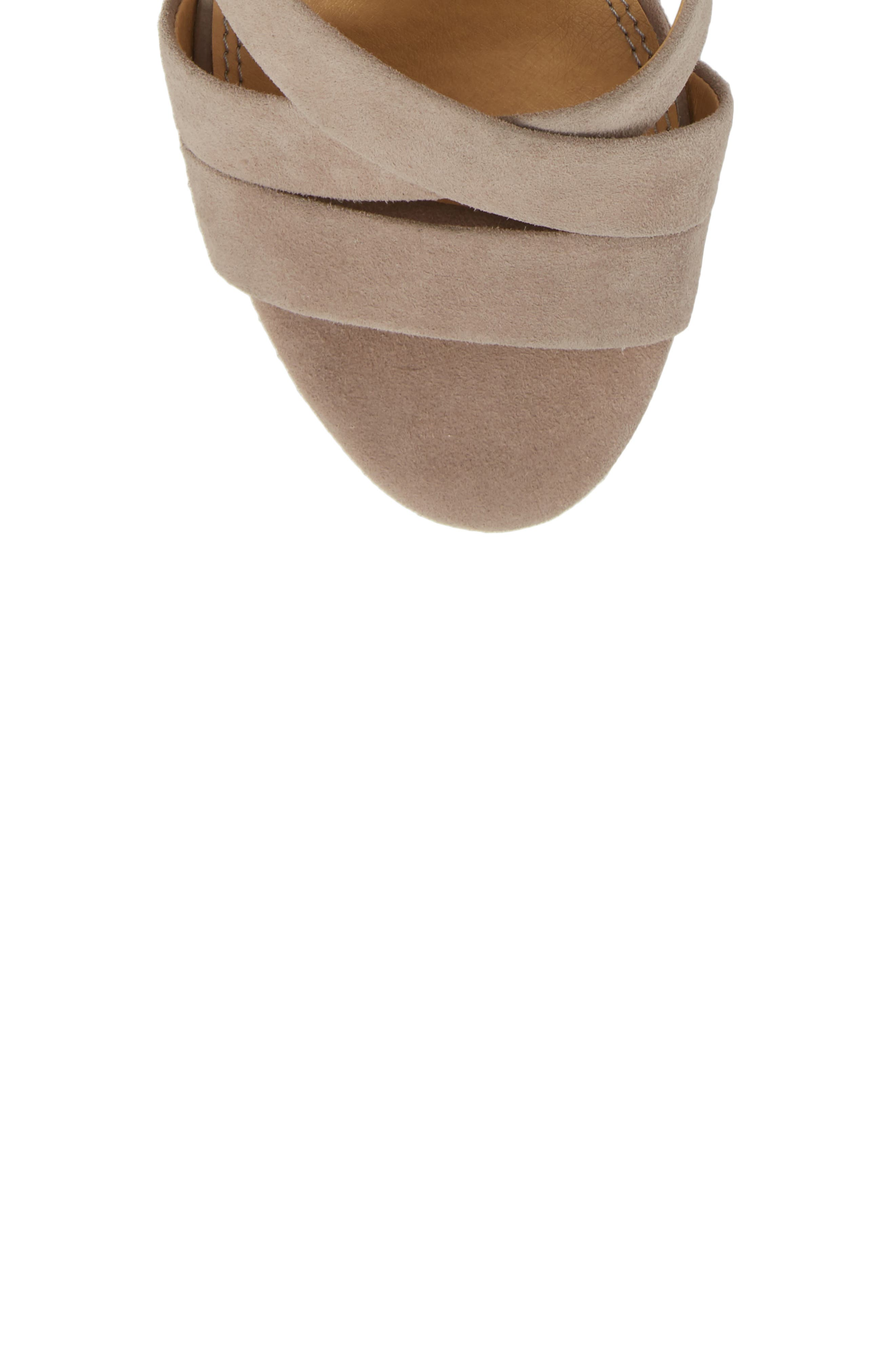 Fergie Lace-Up Sandal,                             Alternate thumbnail 4, color,                             Taupe Suede