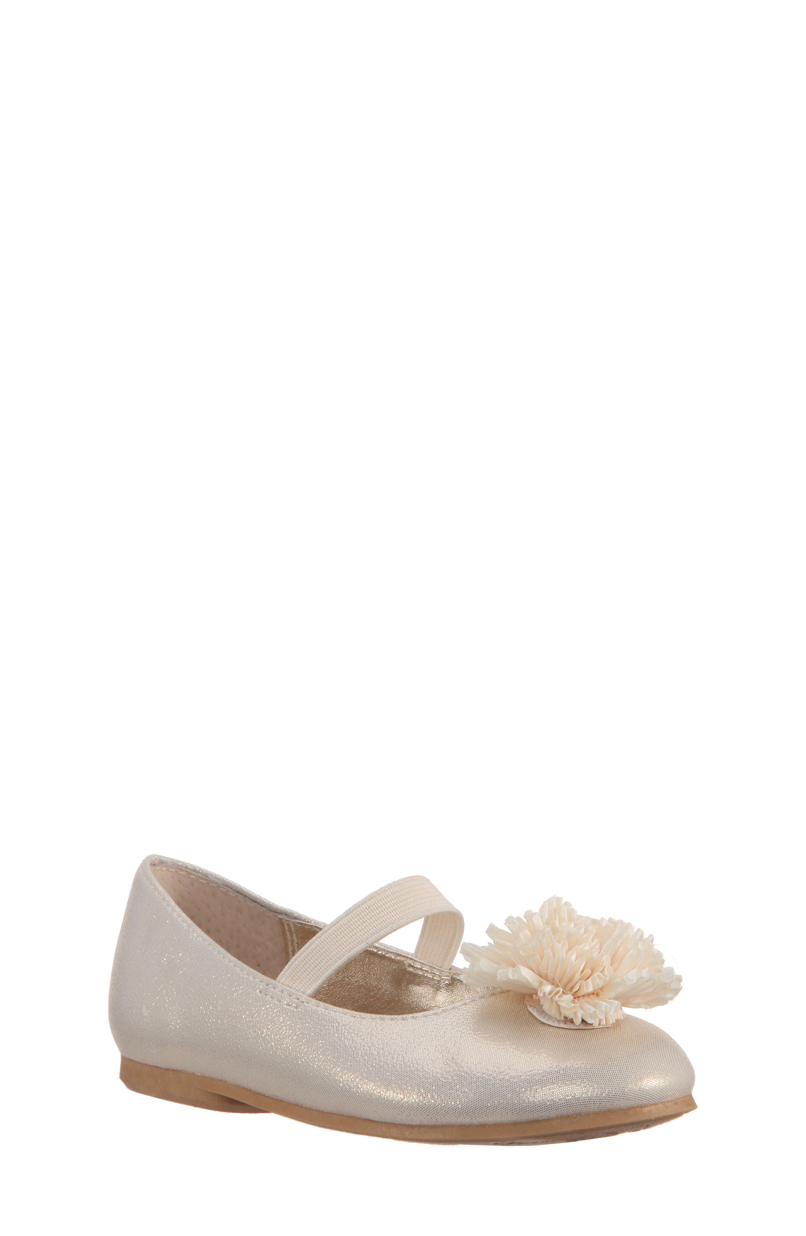Jemma-T Bow Ballet Flat,                         Main,                         color, Platino Metallic