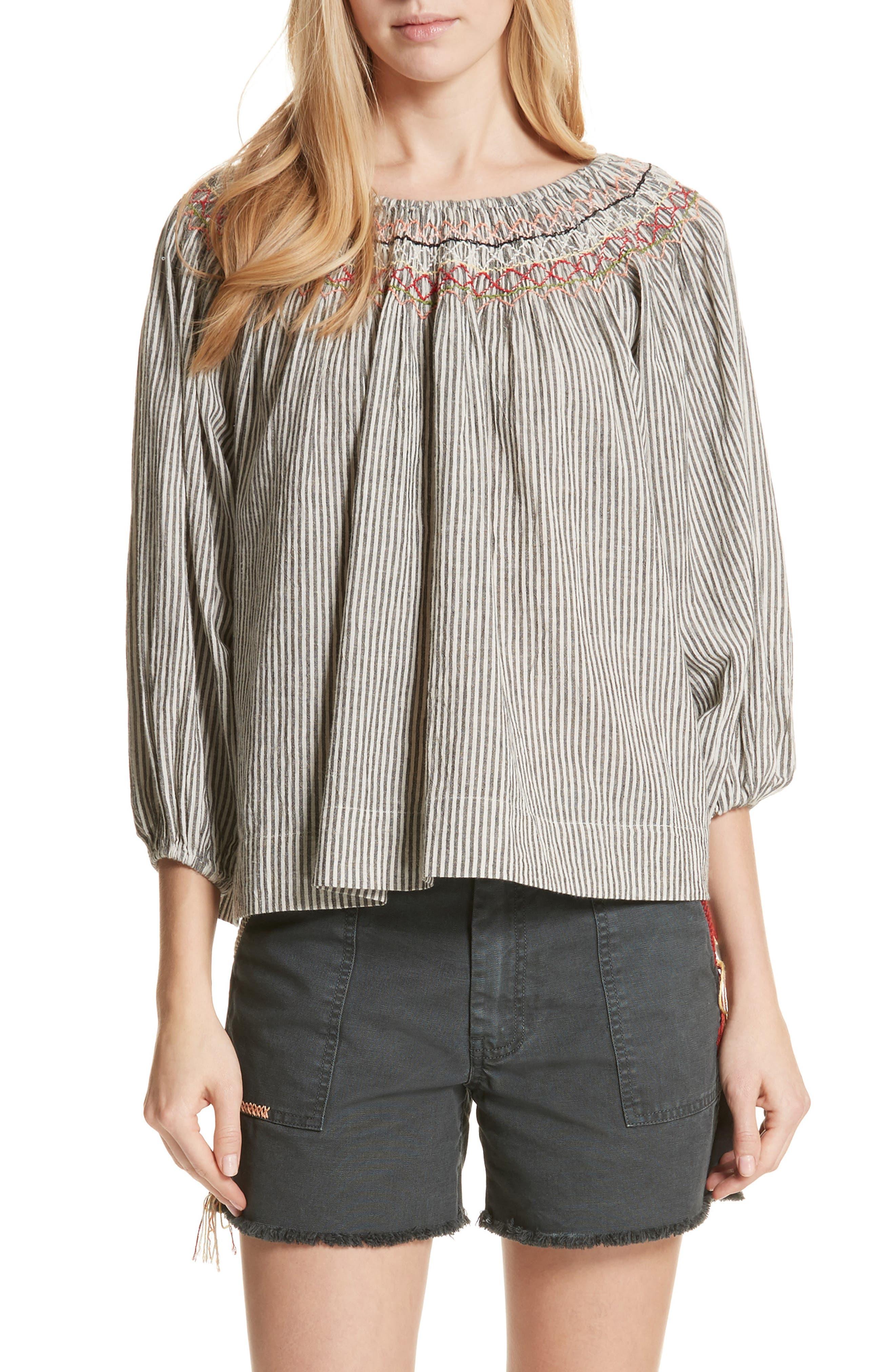 The Vista Cotton & Linen Top,                             Main thumbnail 1, color,                             Rail Stripe
