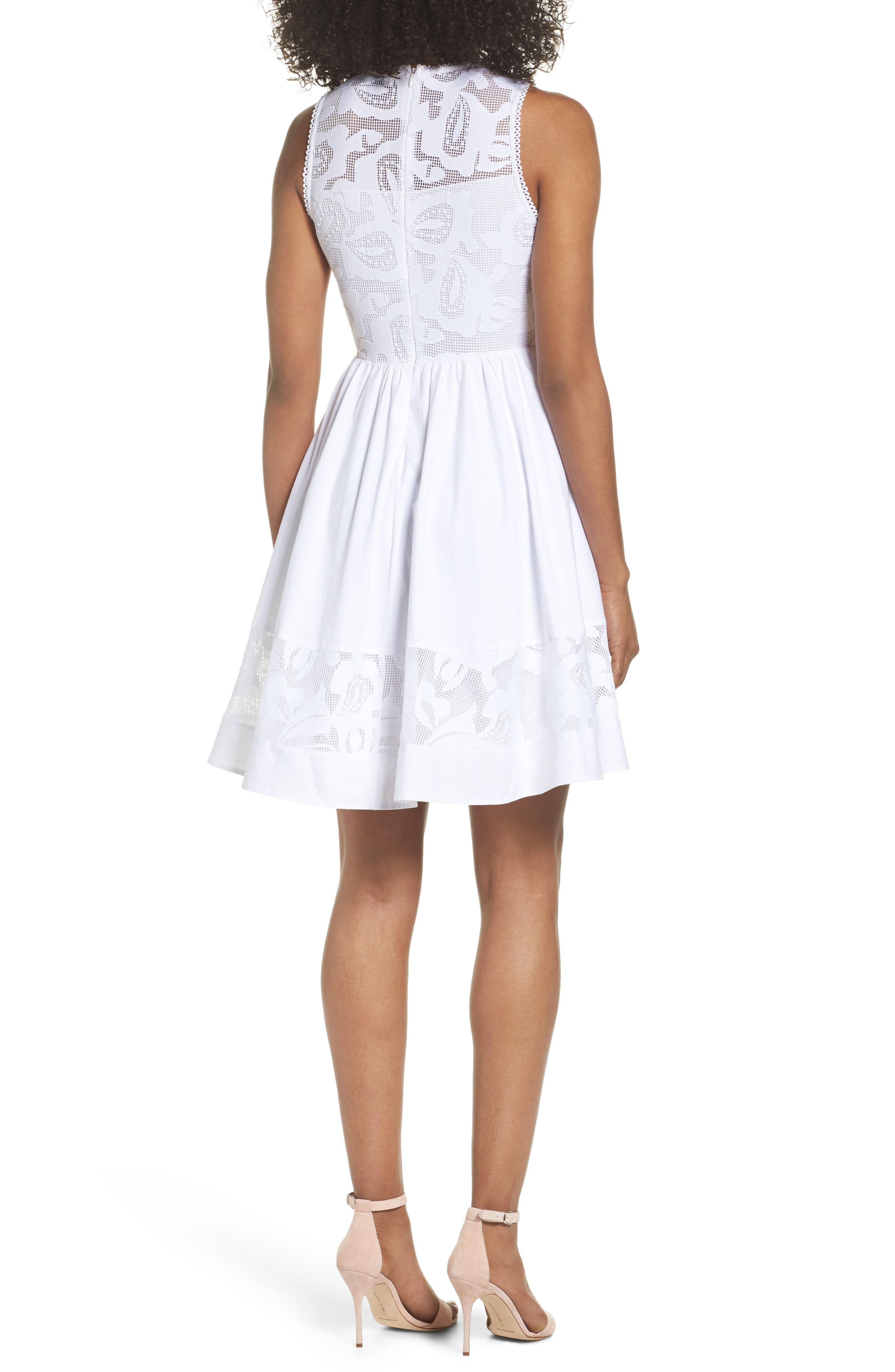 Lace Fit & Flare Dress,                             Alternate thumbnail 2, color,                             White Snow