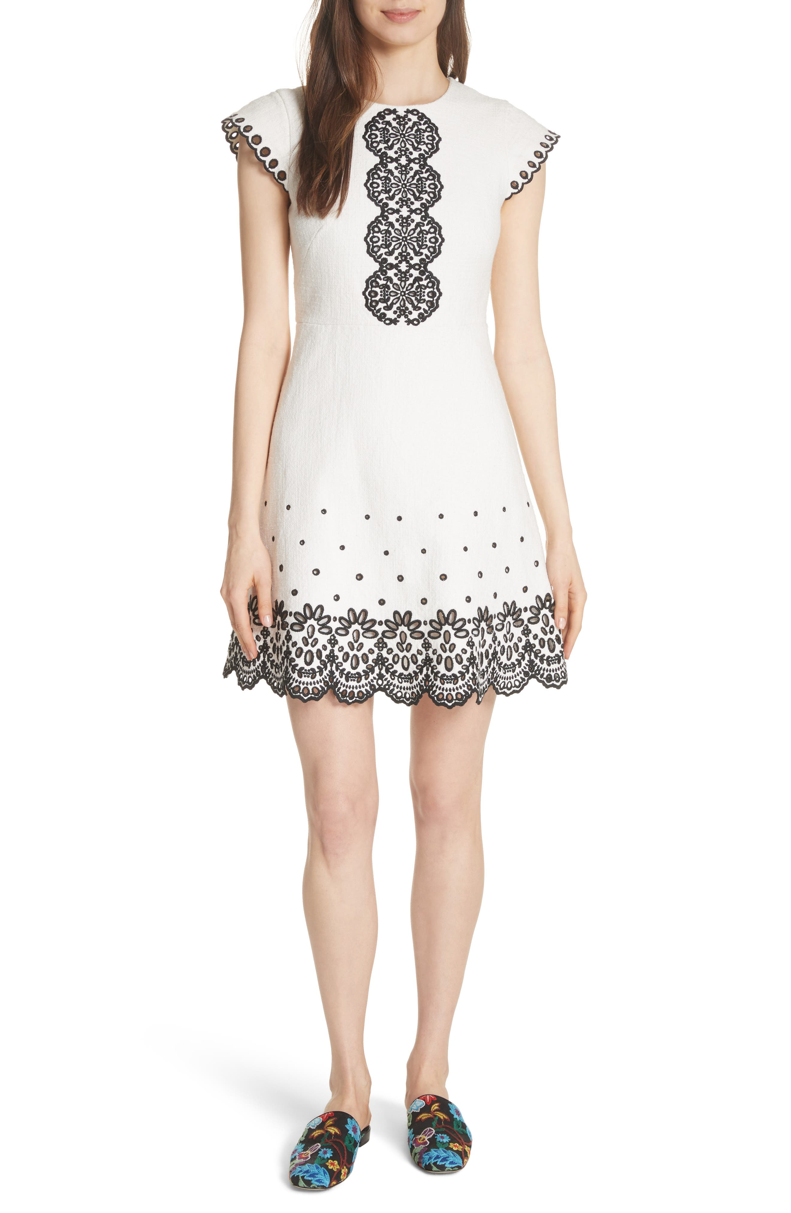 kate spade new york ria laser cut embroidered A-line dress