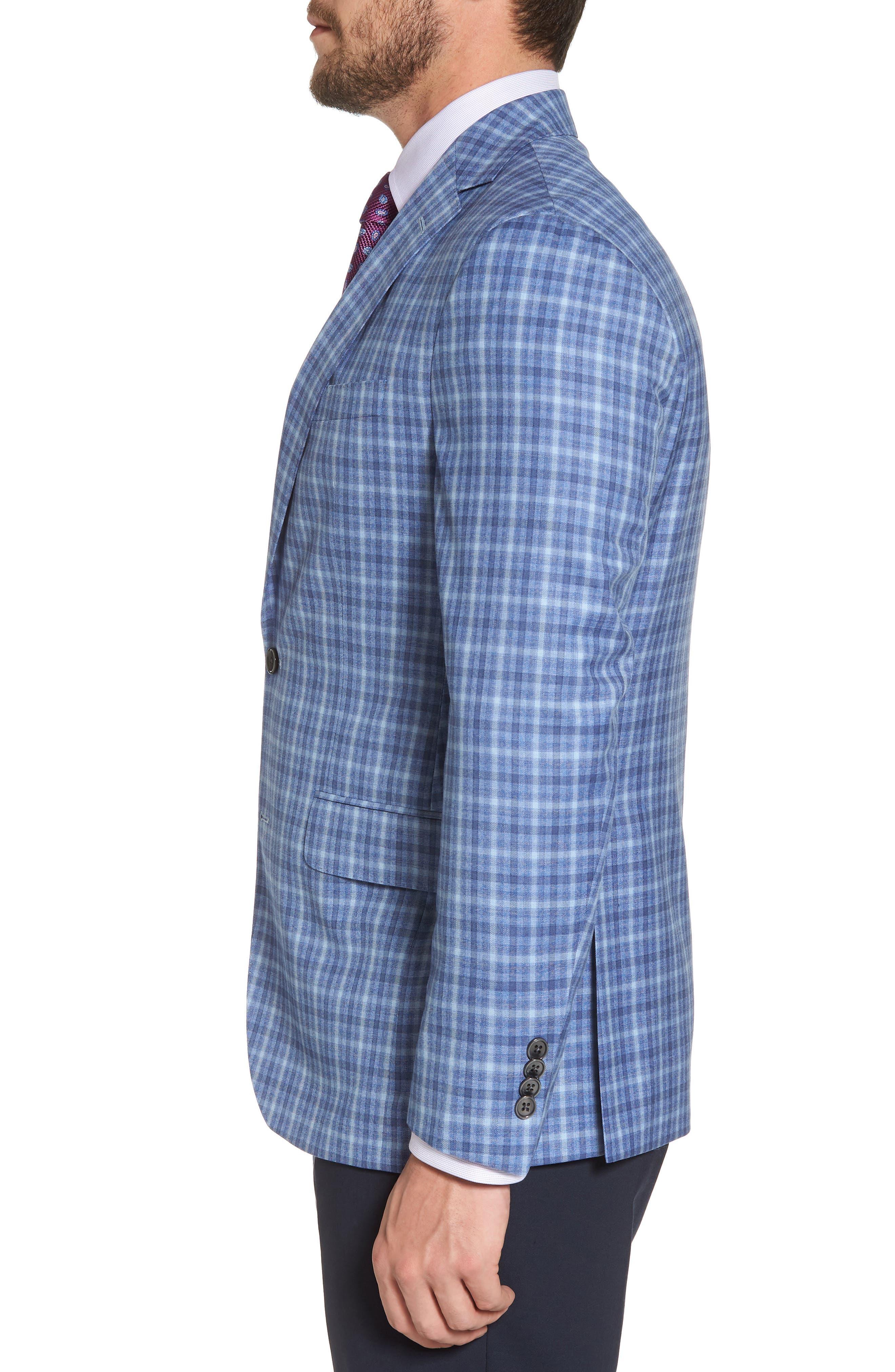 Arnold Classic Fit Plaid Wool Sport Coat,                             Alternate thumbnail 3, color,                             Blue