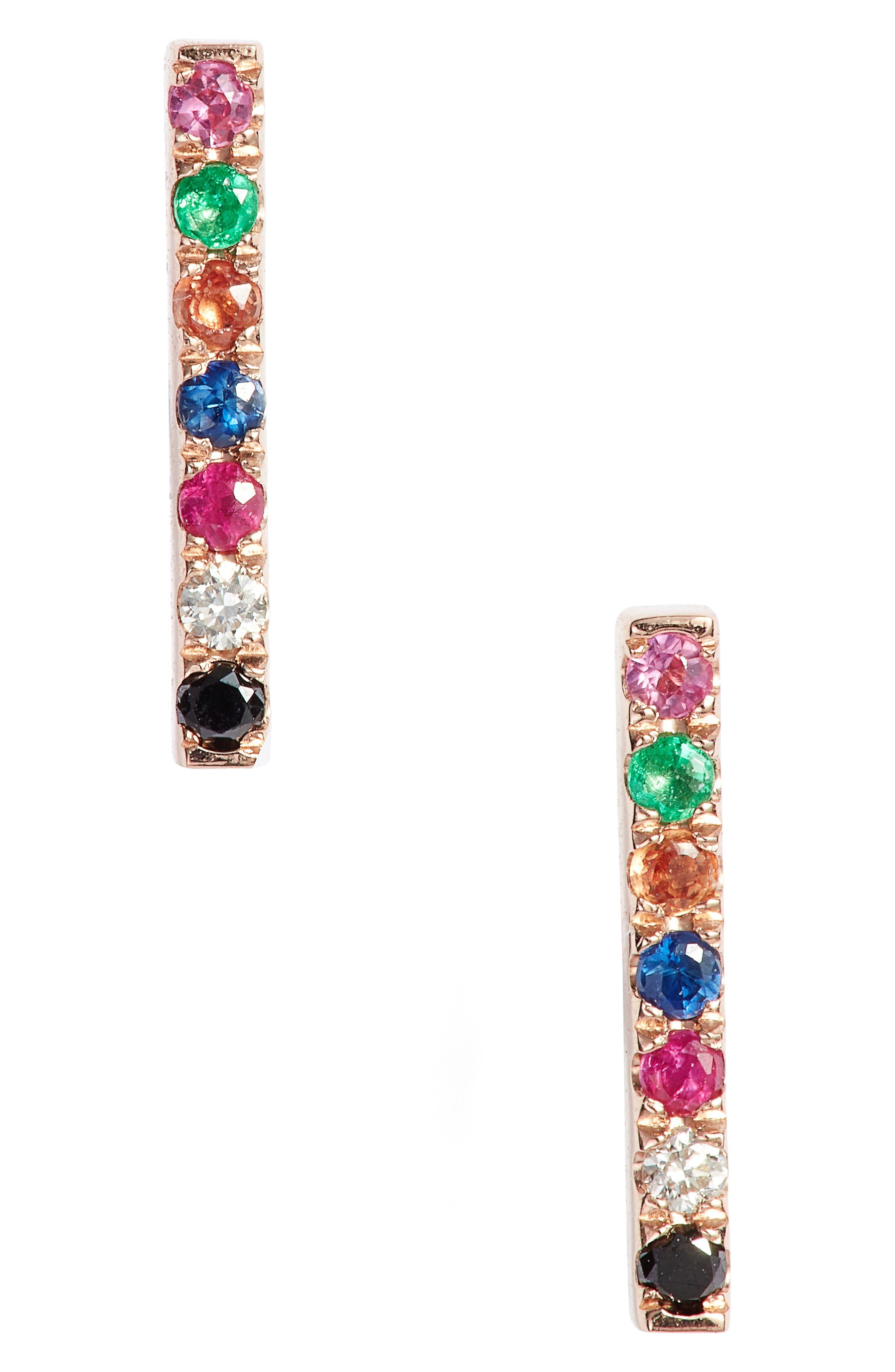 EF COLLECTION Diamond Rainbow Bar Stud Earrings
