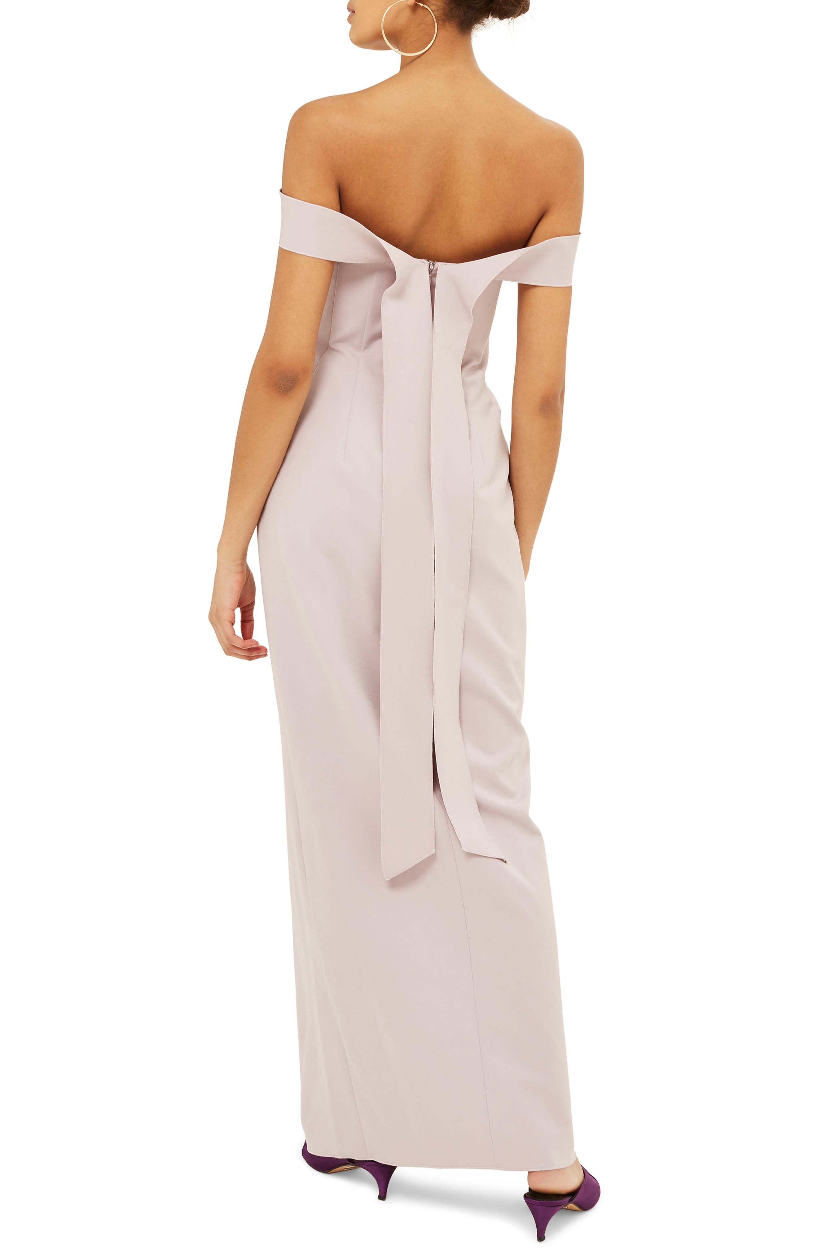 Off the Shoulder Crepe Dress,                             Alternate thumbnail 2, color,                             Lilac