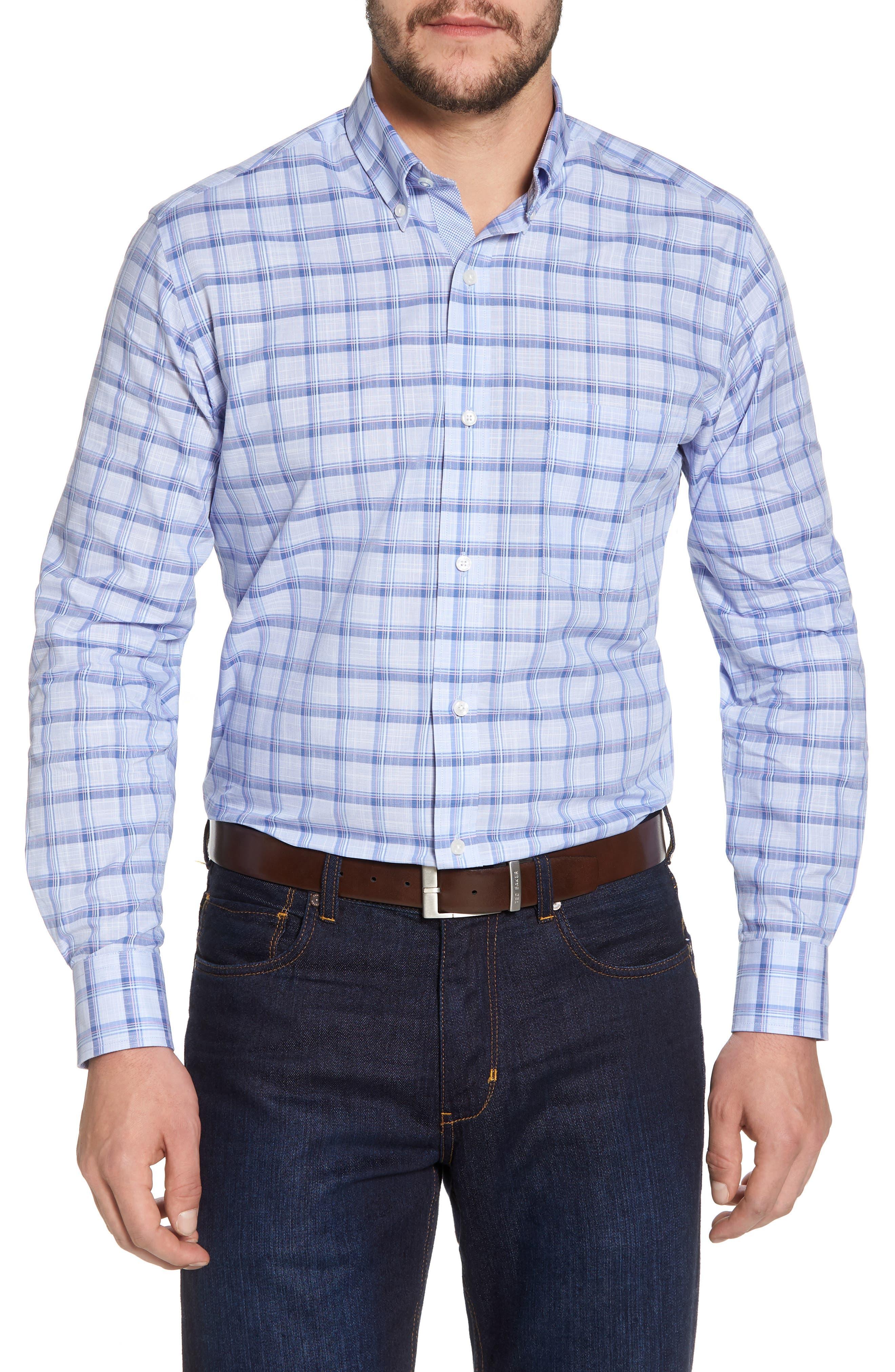 Banks Regular Fit Check Sport Shirt,                         Main,                         color, Chambray