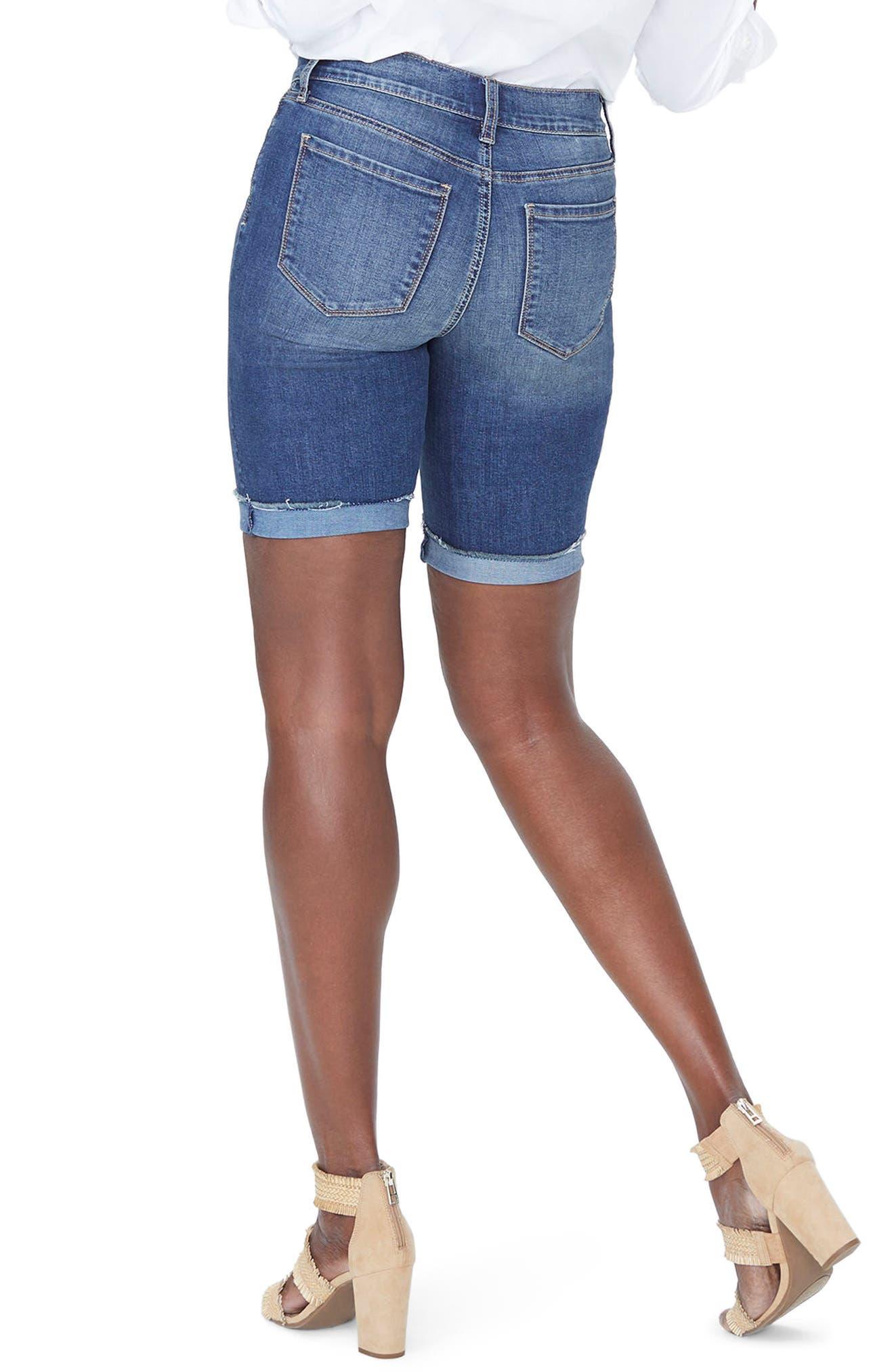 Alternate Image 2  - NYDJ Briella Frayed Hem Denim Bermuda Shorts