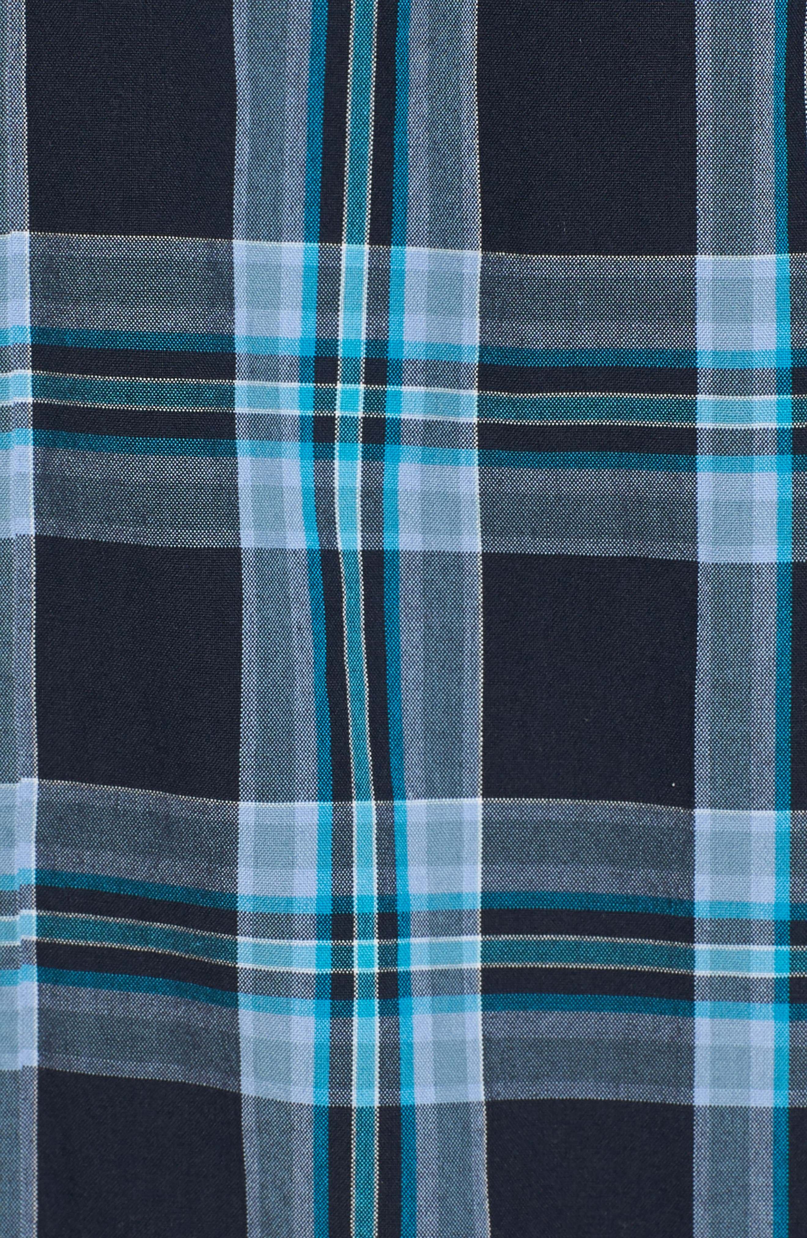 Slim Fit Washed Plaid Sport Shirt,                             Alternate thumbnail 5, color,                             Night Swim
