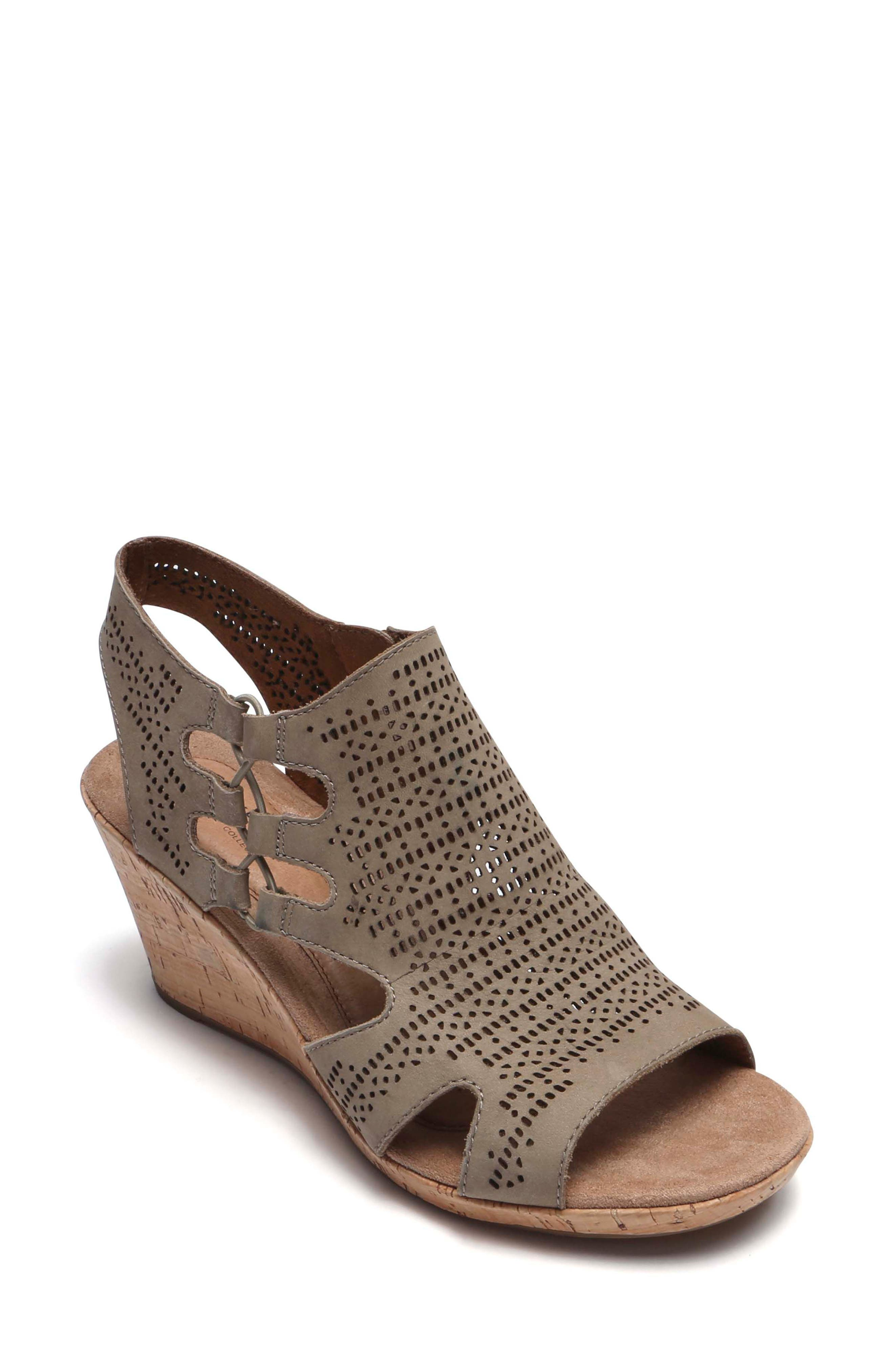 Rockport Cobb Hill Janna Perforated Wedge Sandal (Women)