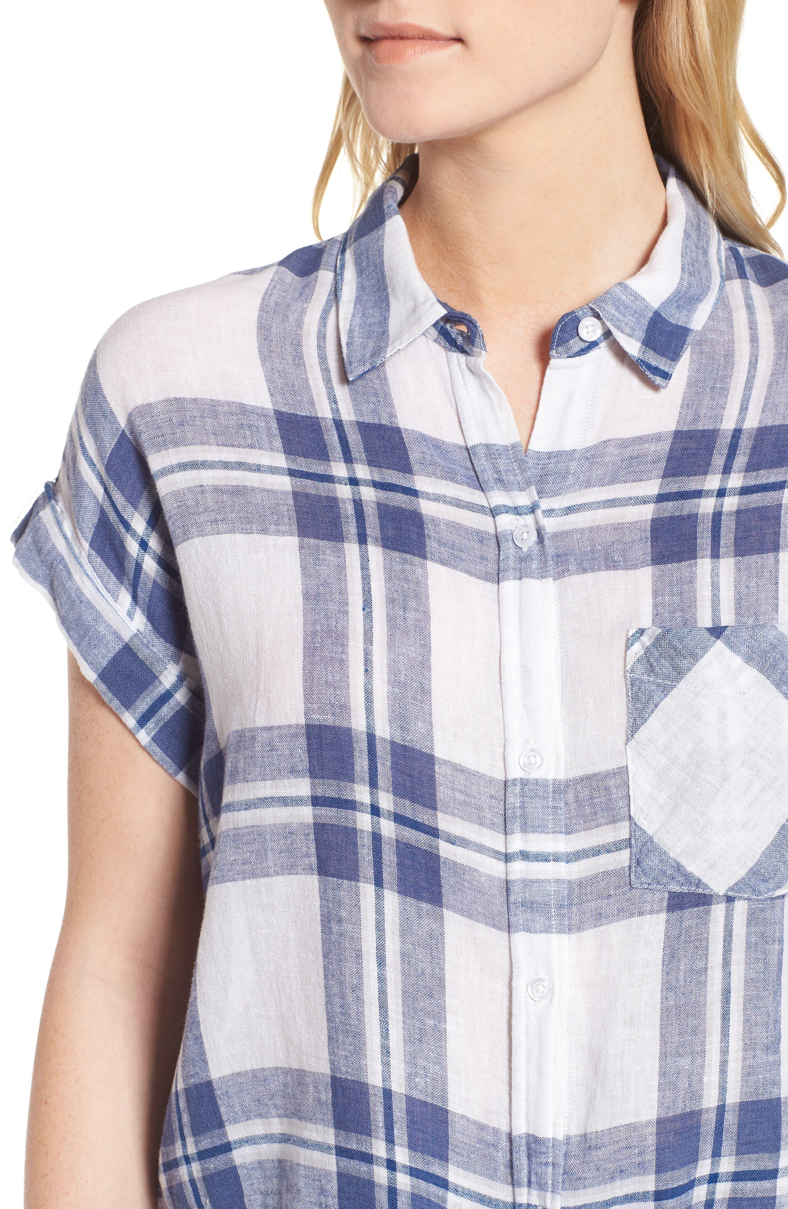Amelie Tie Front Shirt,                             Alternate thumbnail 4, color,                             Lapis Coast White