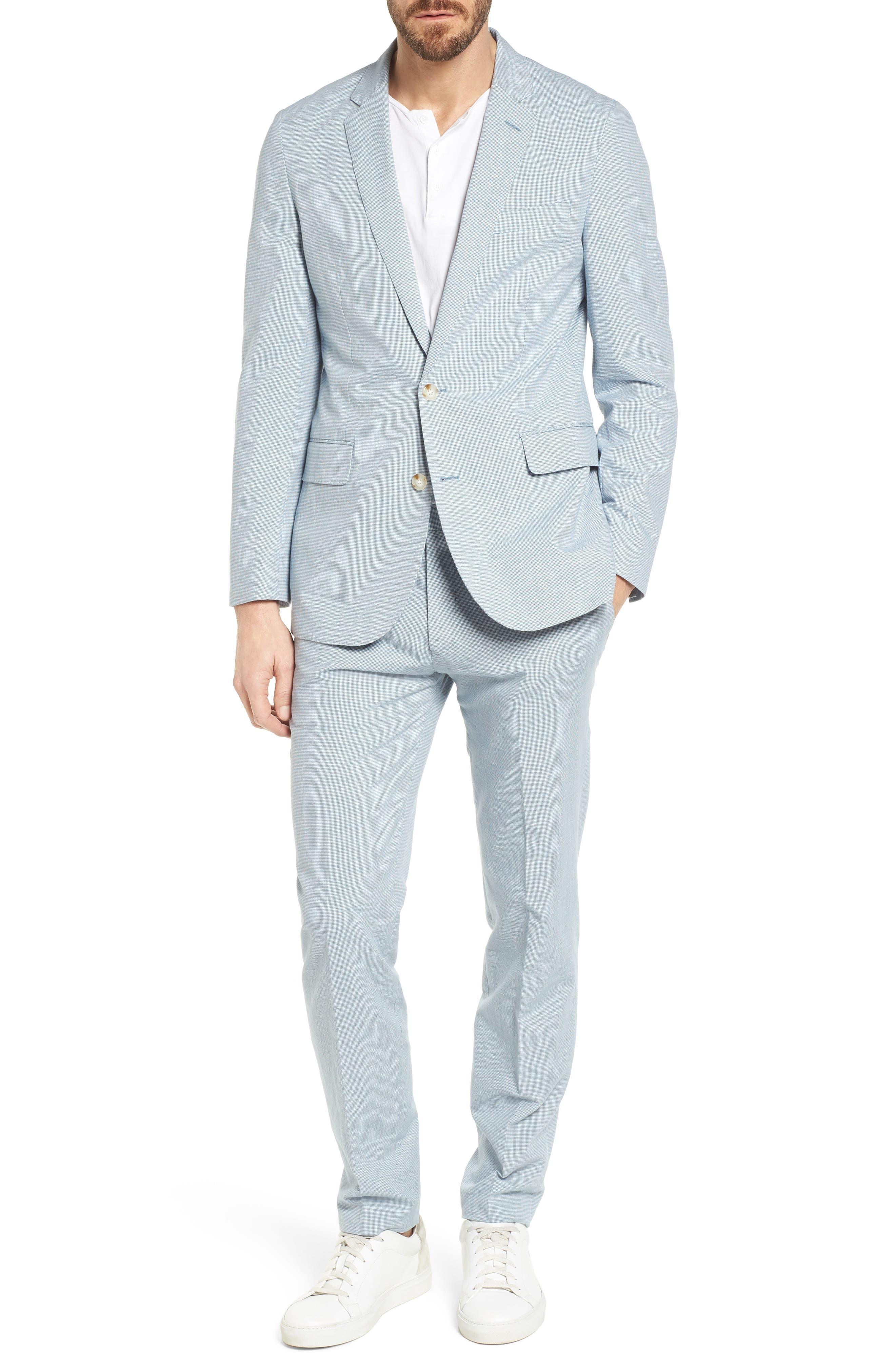 Ludlow Trim Fit Houndstooth Cotton & Linen Suit Pants,                             Alternate thumbnail 7, color,                             Light Blue