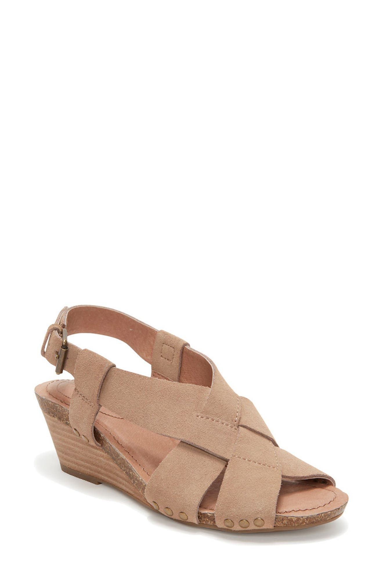 Adam Tucker Tarin Wedge Sandal,                             Main thumbnail 1, color,                             Rosewood Suede