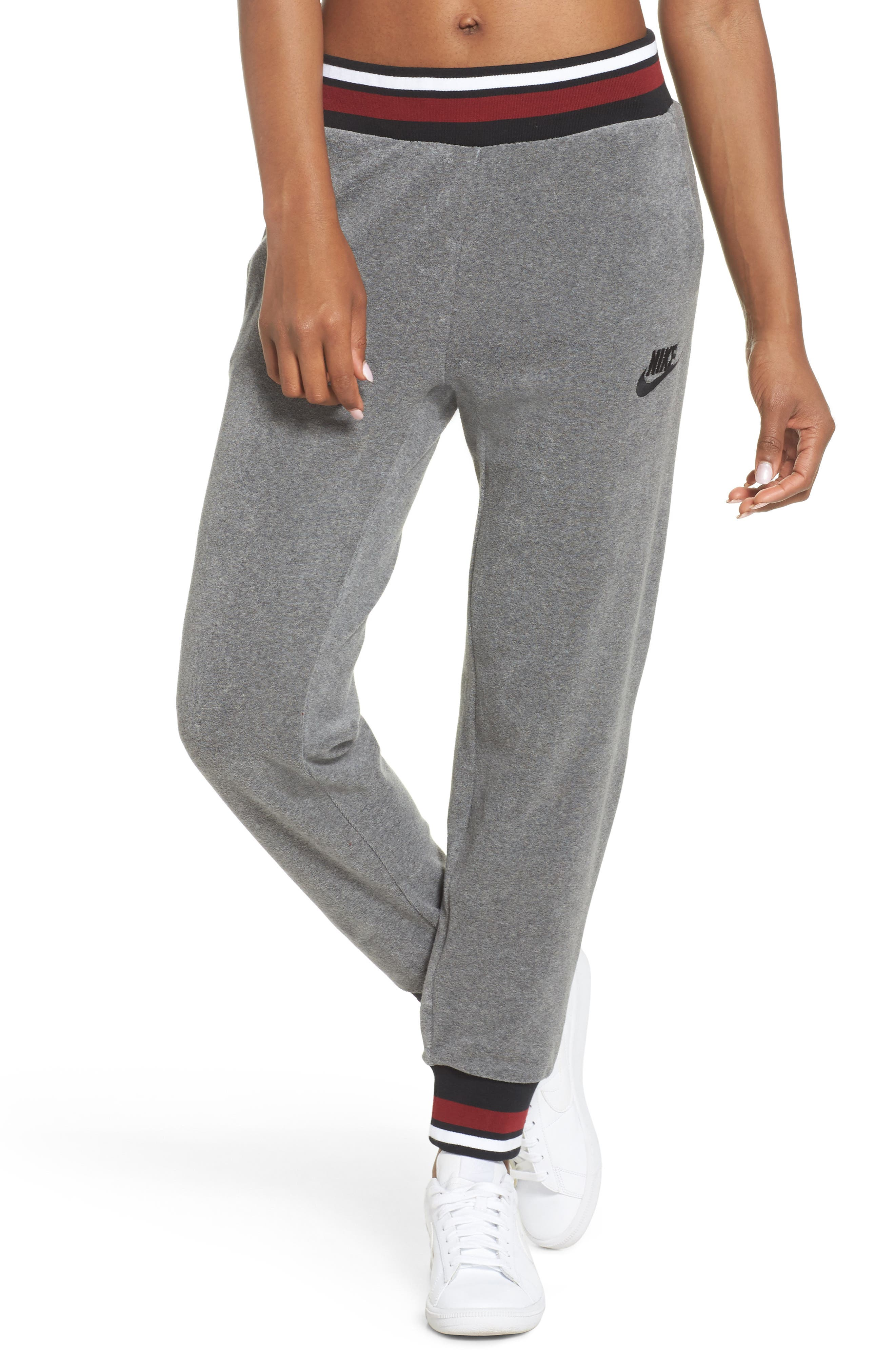 Sportswear French Terry Pants,                             Main thumbnail 1, color,                             Carbon Heather/ Team Red