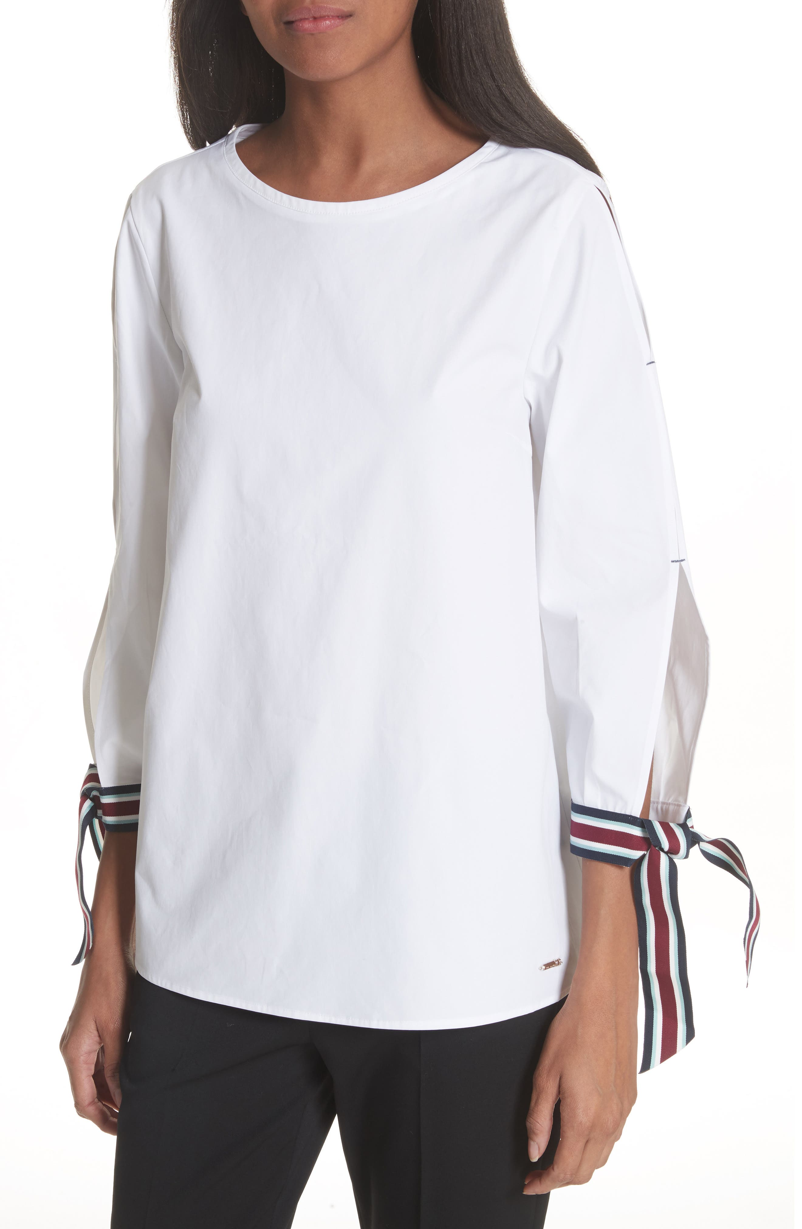 Tie Sleeve Cotton Top,                         Main,                         color, White