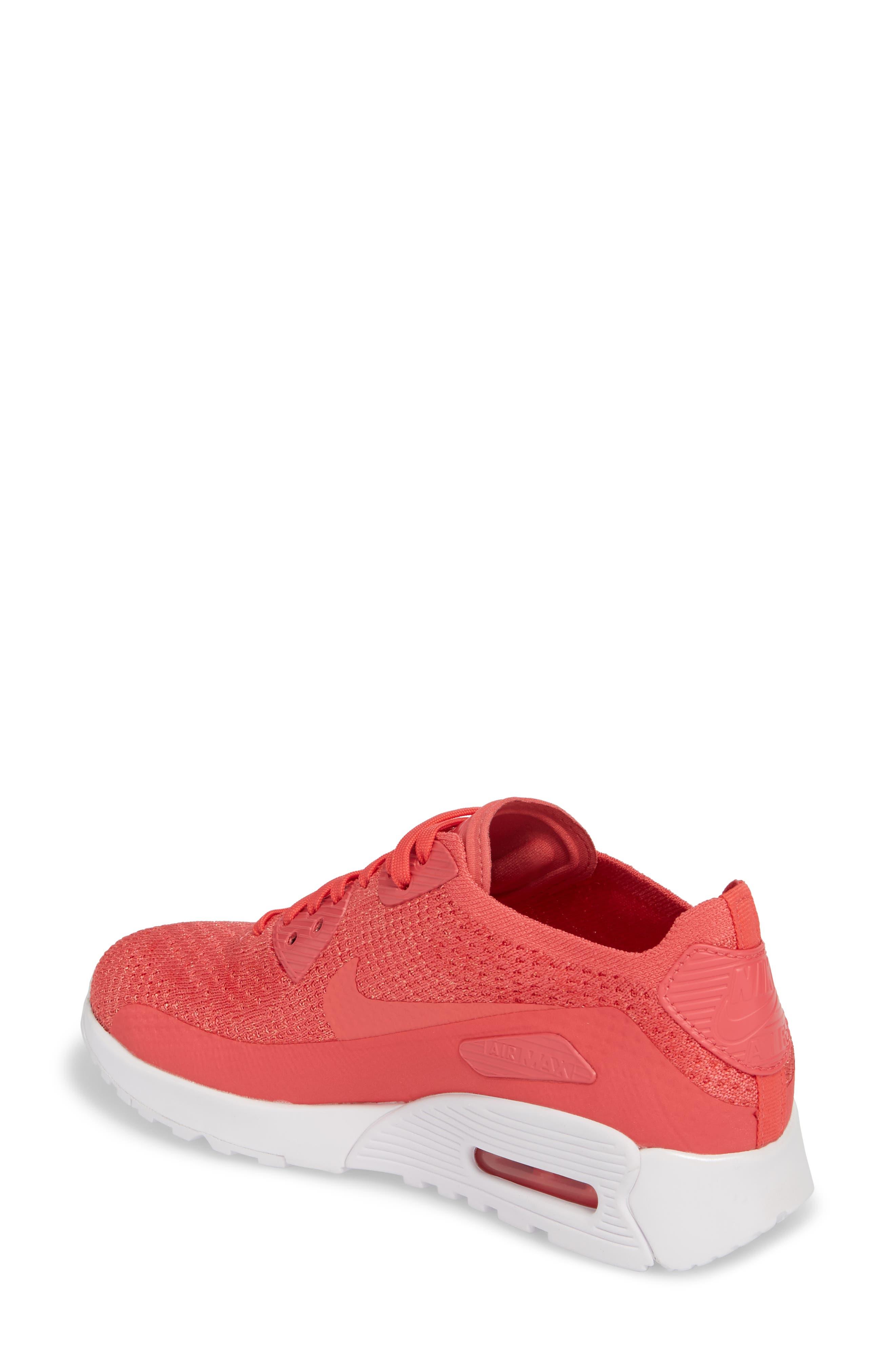 Air Max 90 Flyknit Ultra 2.0 Sneaker,                             Alternate thumbnail 2, color,                             Geranium/ Geranium