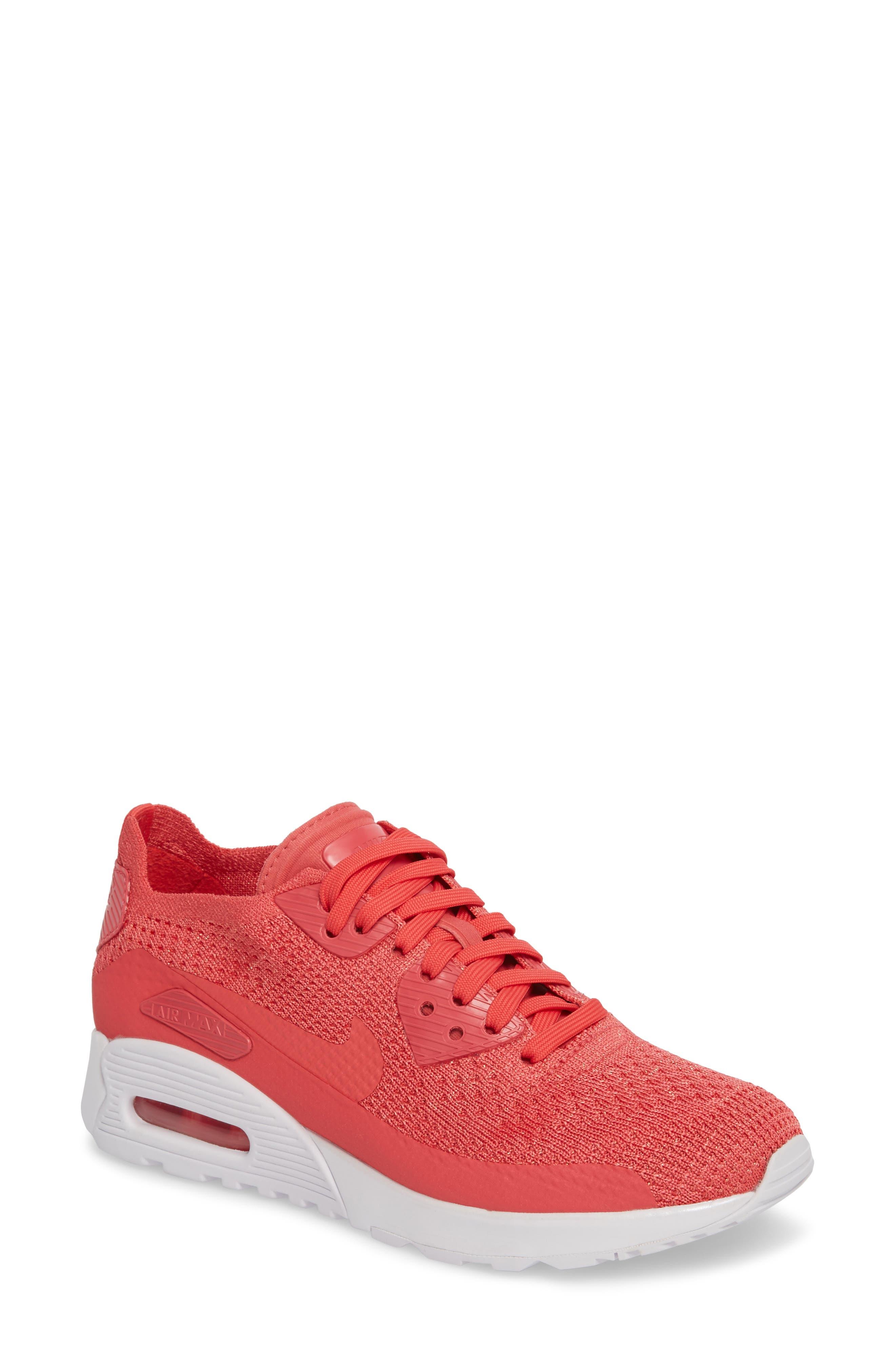 Air Max 90 Flyknit Ultra 2.0 Sneaker,                             Main thumbnail 1, color,                             Geranium/ Geranium