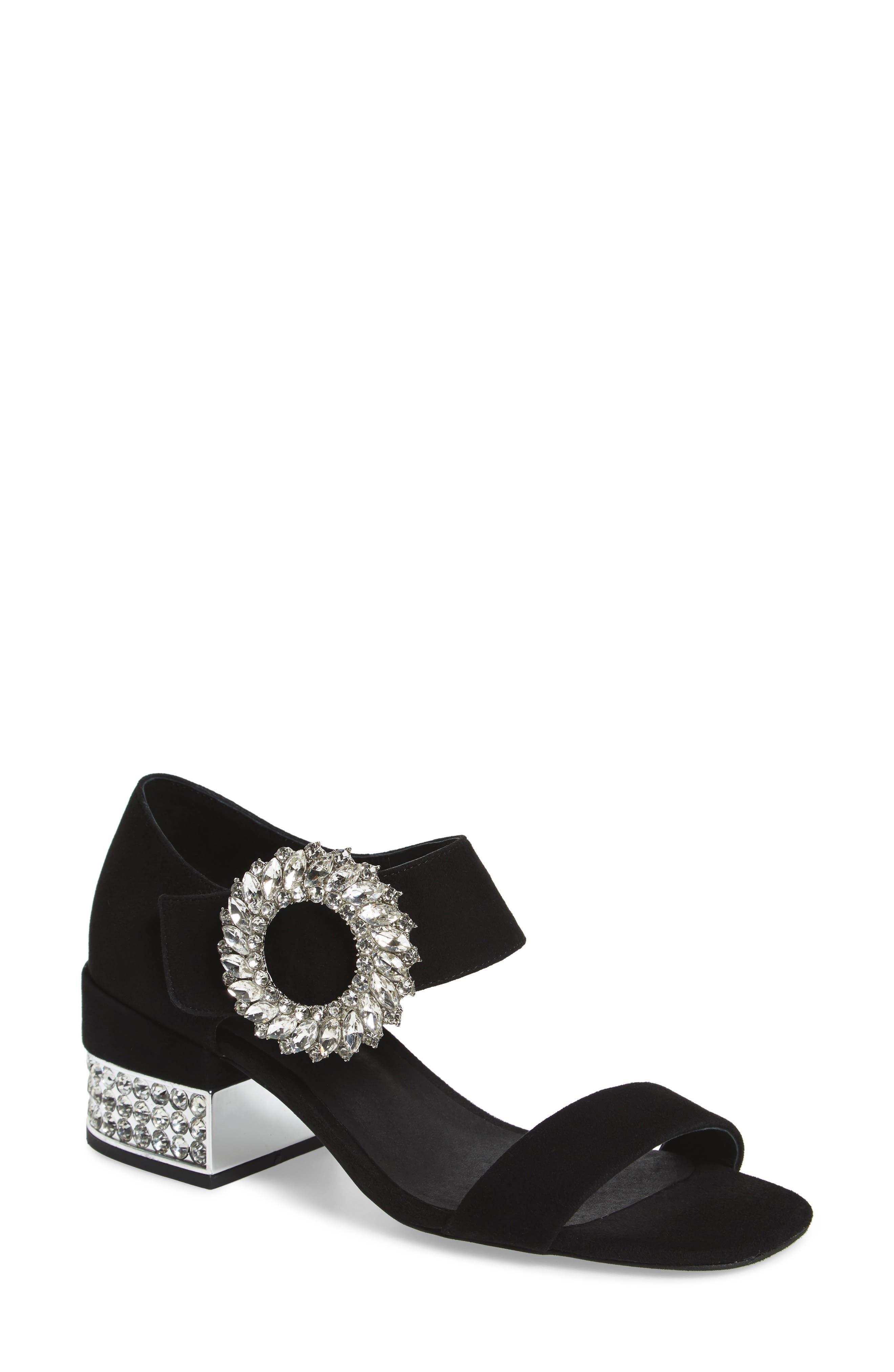 Kaylene Crystal Embellished Sandal,                             Main thumbnail 1, color,                             Black/ Silver Suede