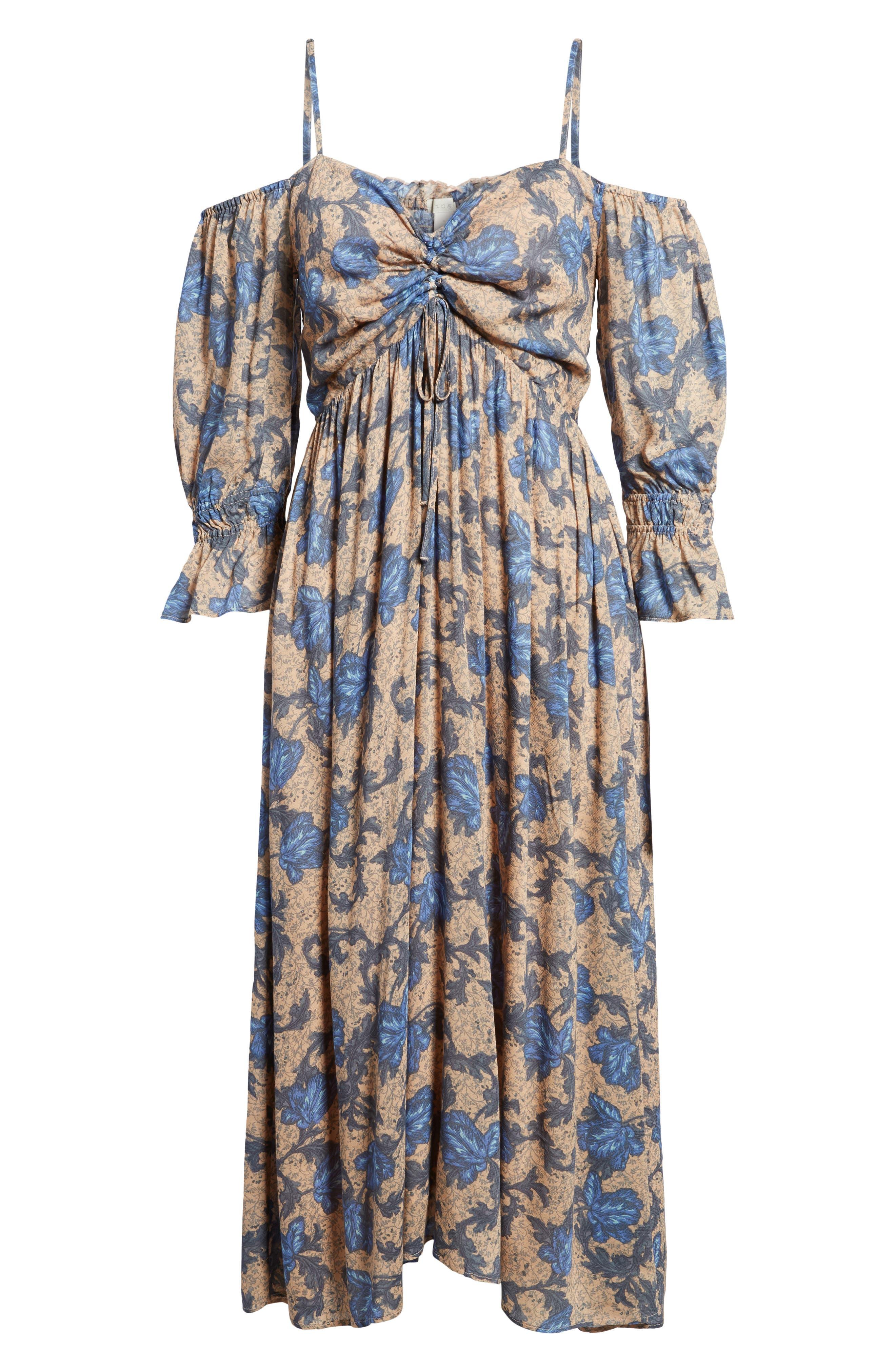 Smocked Back Cold Shoulder Dress,                             Alternate thumbnail 6, color,                             Beige Maple Wallpaper Ivy