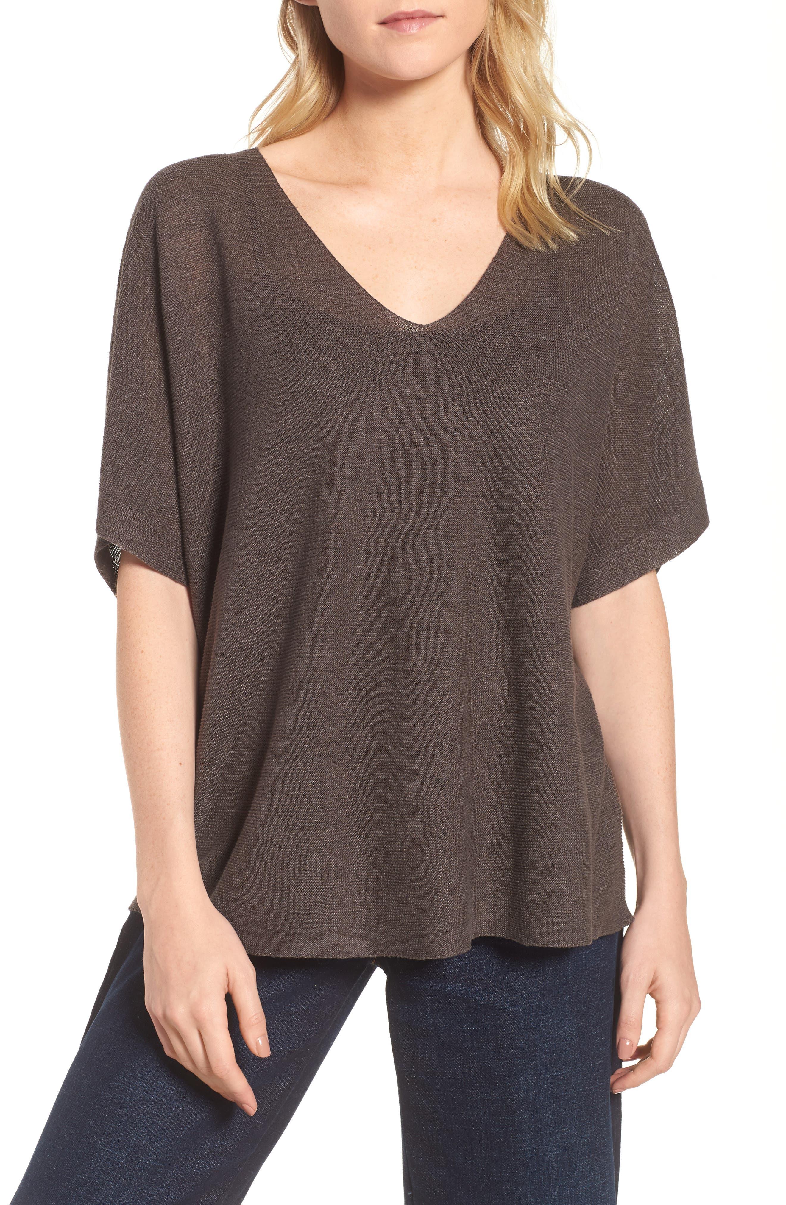 Eileen Fisher V-Neck Organic Linen Top