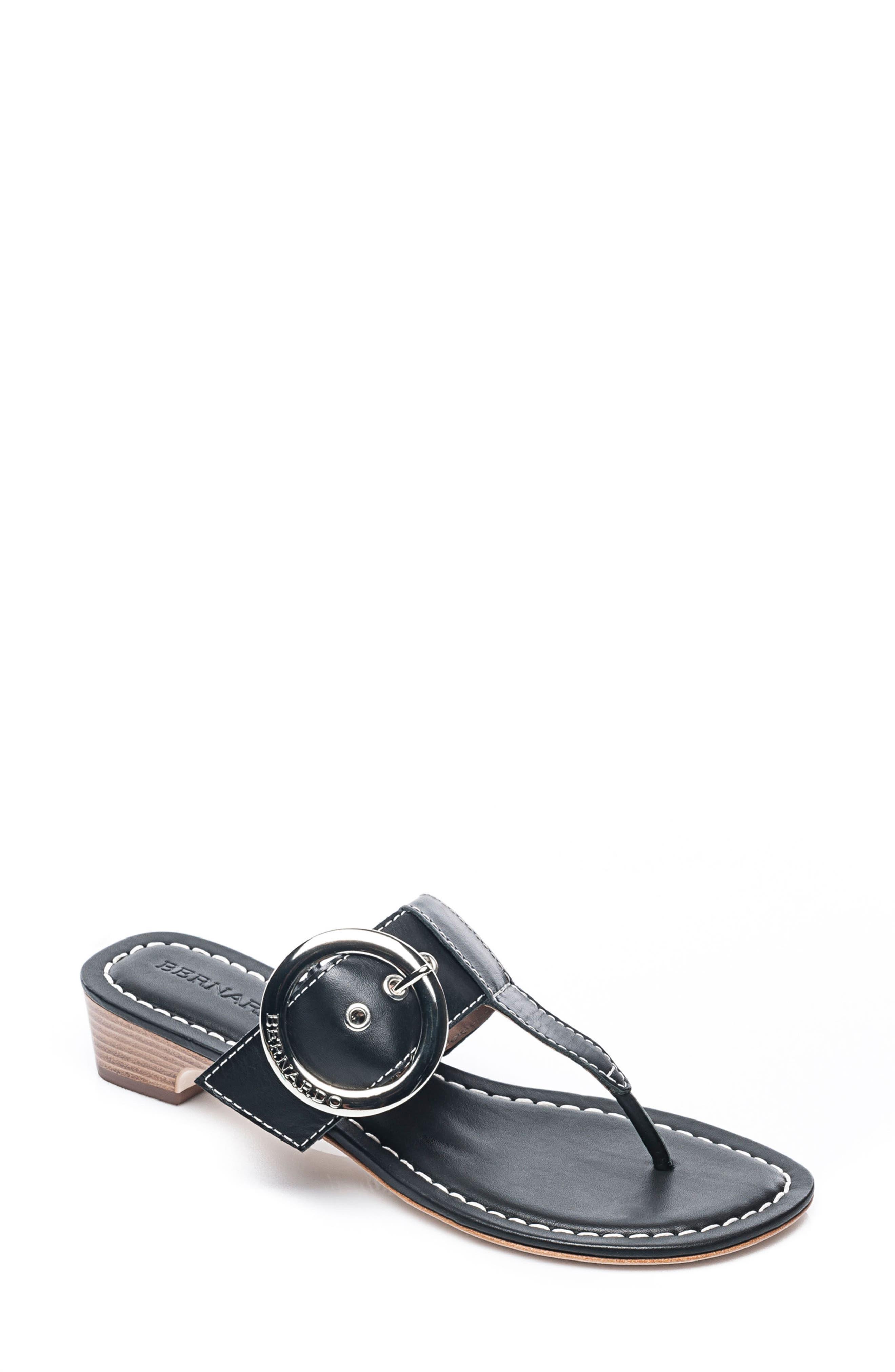 Bernardo Grace Sandal,                             Main thumbnail 1, color,                             Black Leather