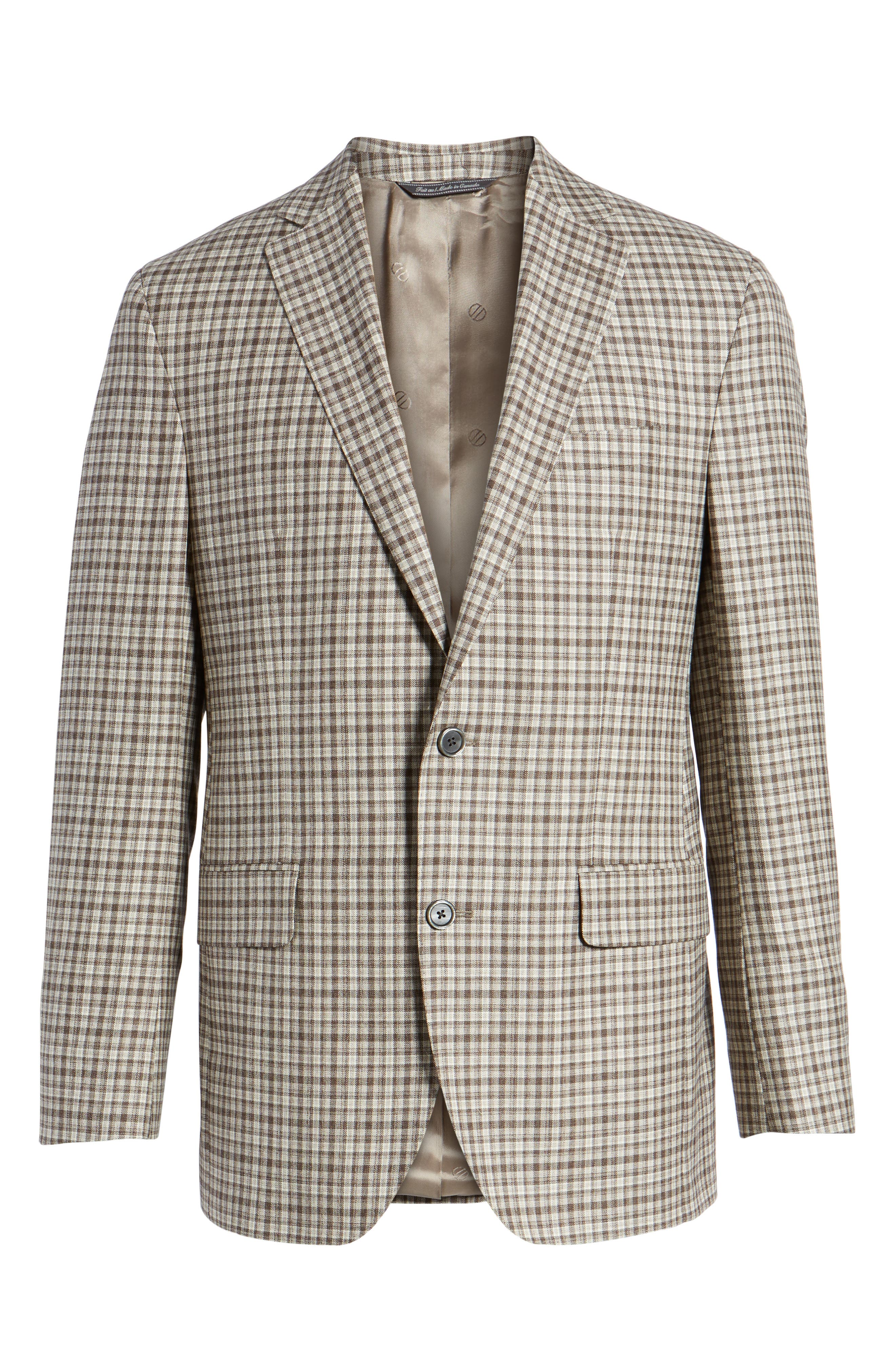 Arnold Classic Fit Plaid Wool Sport Coat,                             Alternate thumbnail 6, color,                             Brown