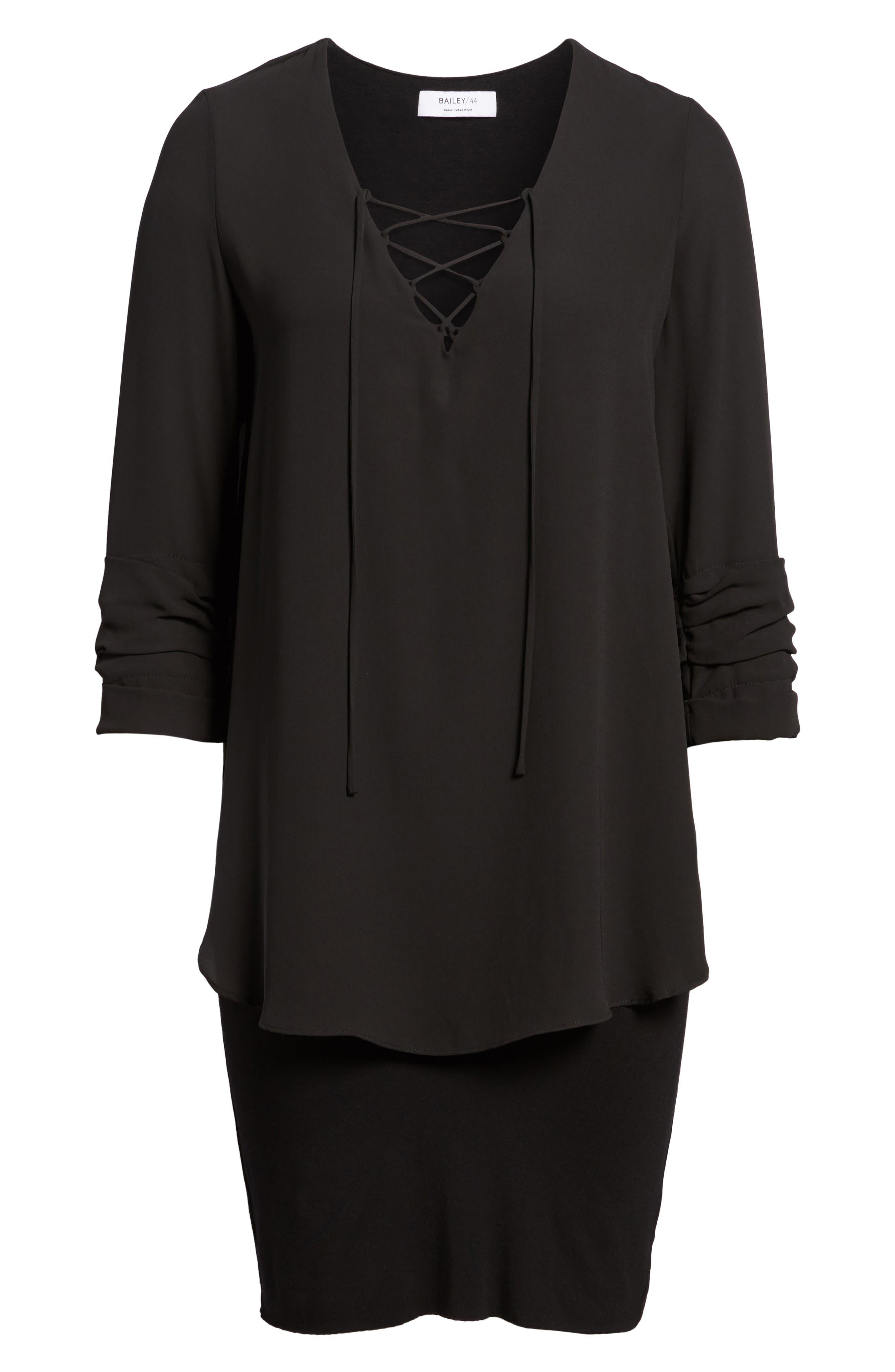 Bento Faux Layered Dress,                             Alternate thumbnail 6, color,                             Black