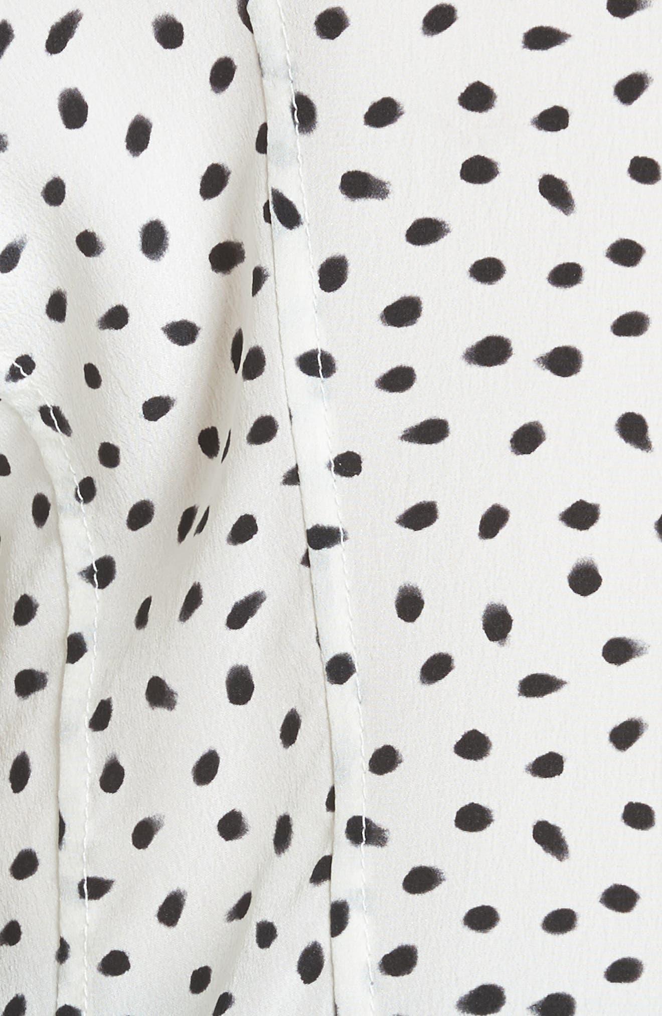 Polka Dot Ruched Sleeve Silk Shirt,                             Alternate thumbnail 5, color,                             Chalk Black