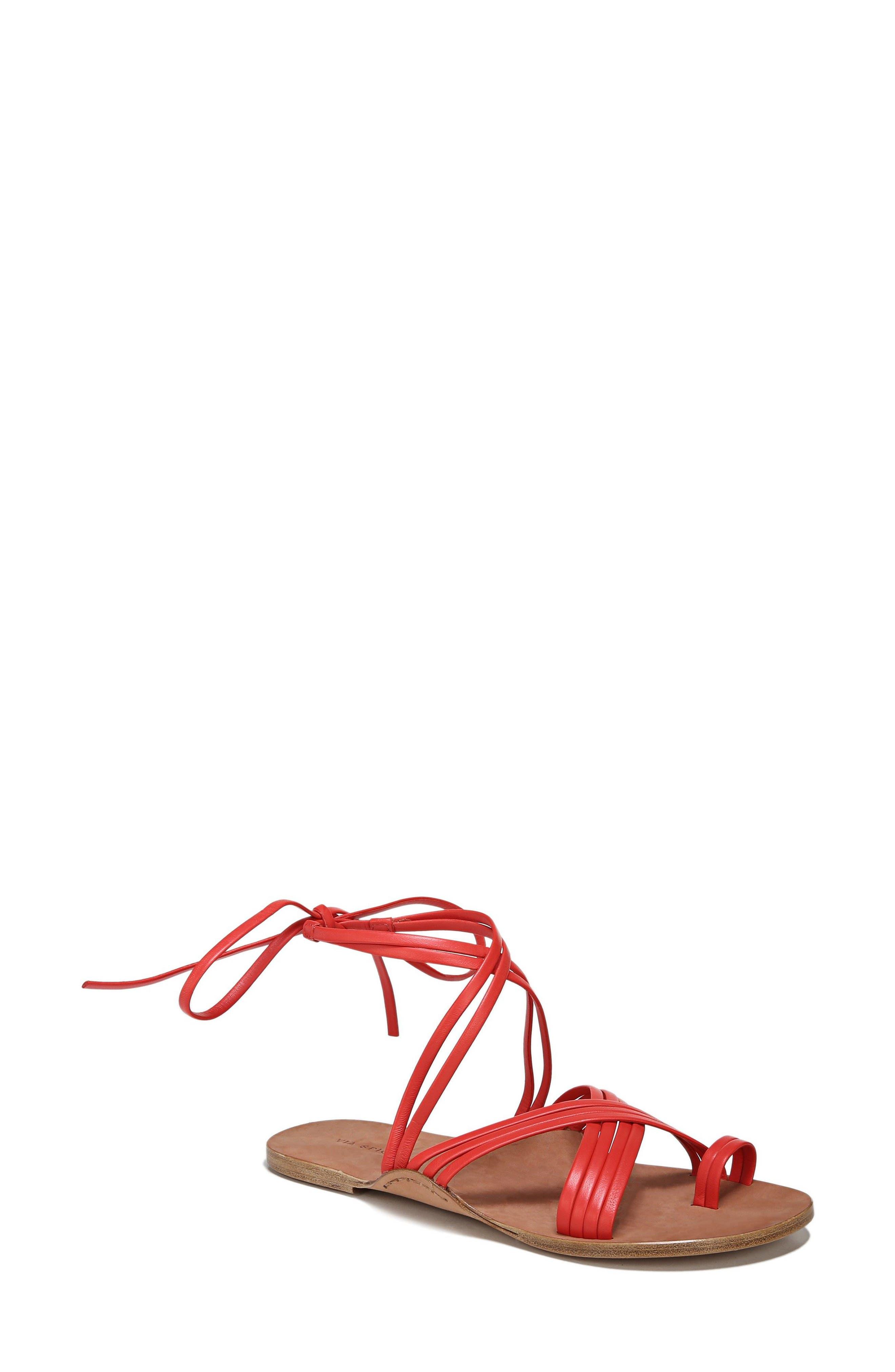 Allegra Sandal,                             Main thumbnail 1, color,                             Poppy Red Leather