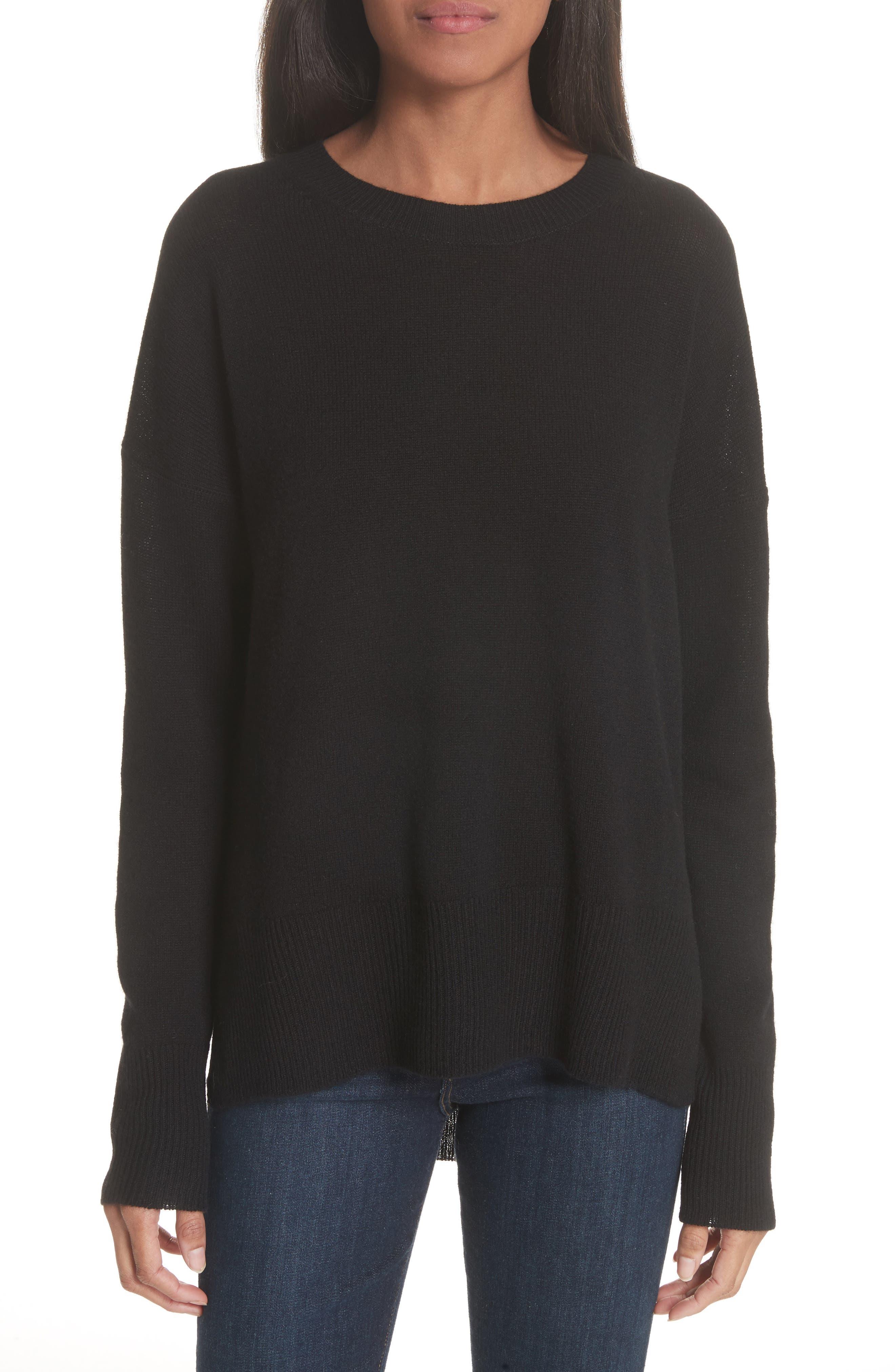 Karenia L Cashmere Sweater,                             Main thumbnail 1, color,                             Black