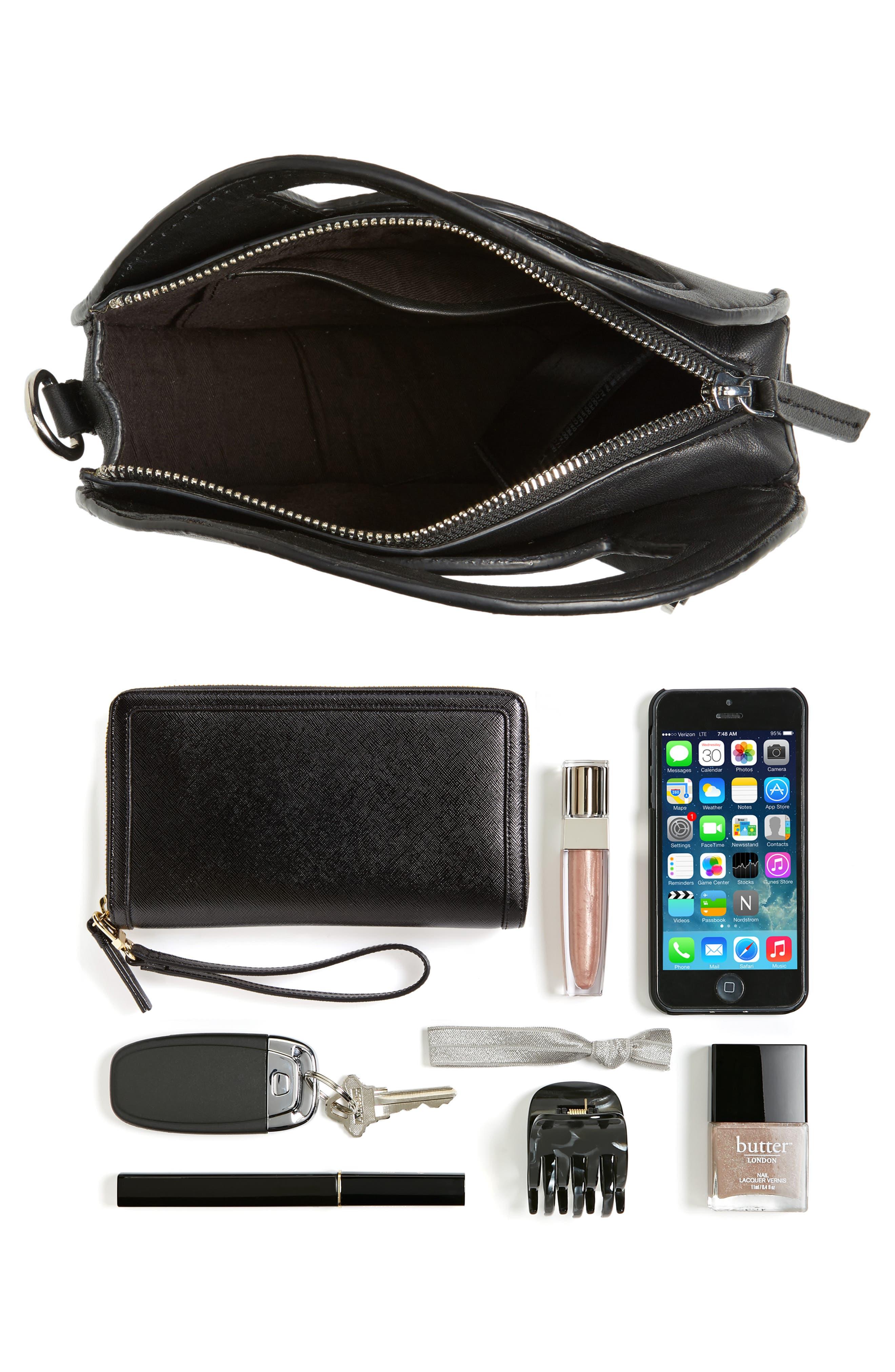 Premium Leather Mini Circle Crossbody Bag,                             Alternate thumbnail 7, color,