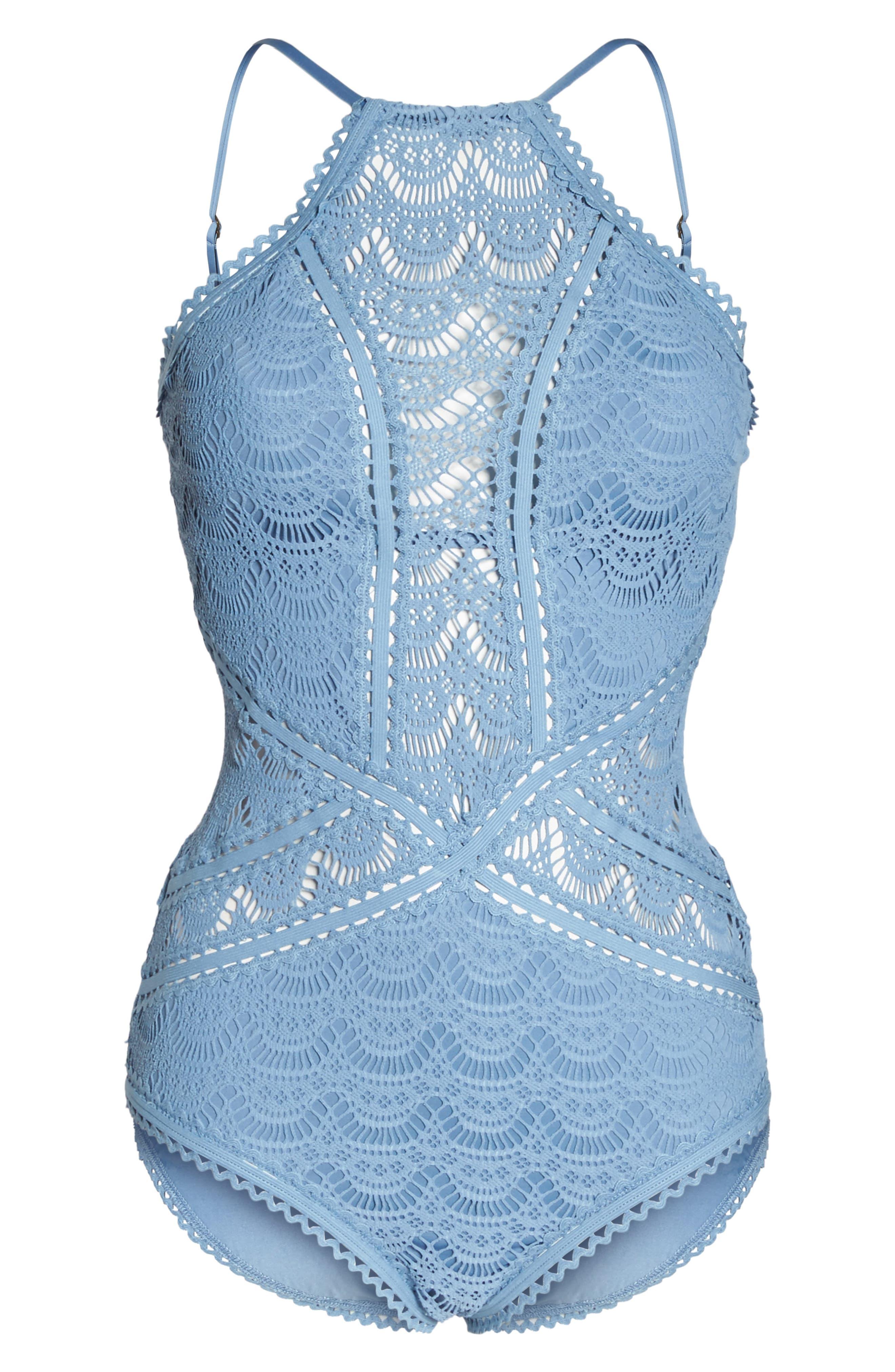 Crochet One-Piece Swimsuit,                             Alternate thumbnail 6, color,                             Steel