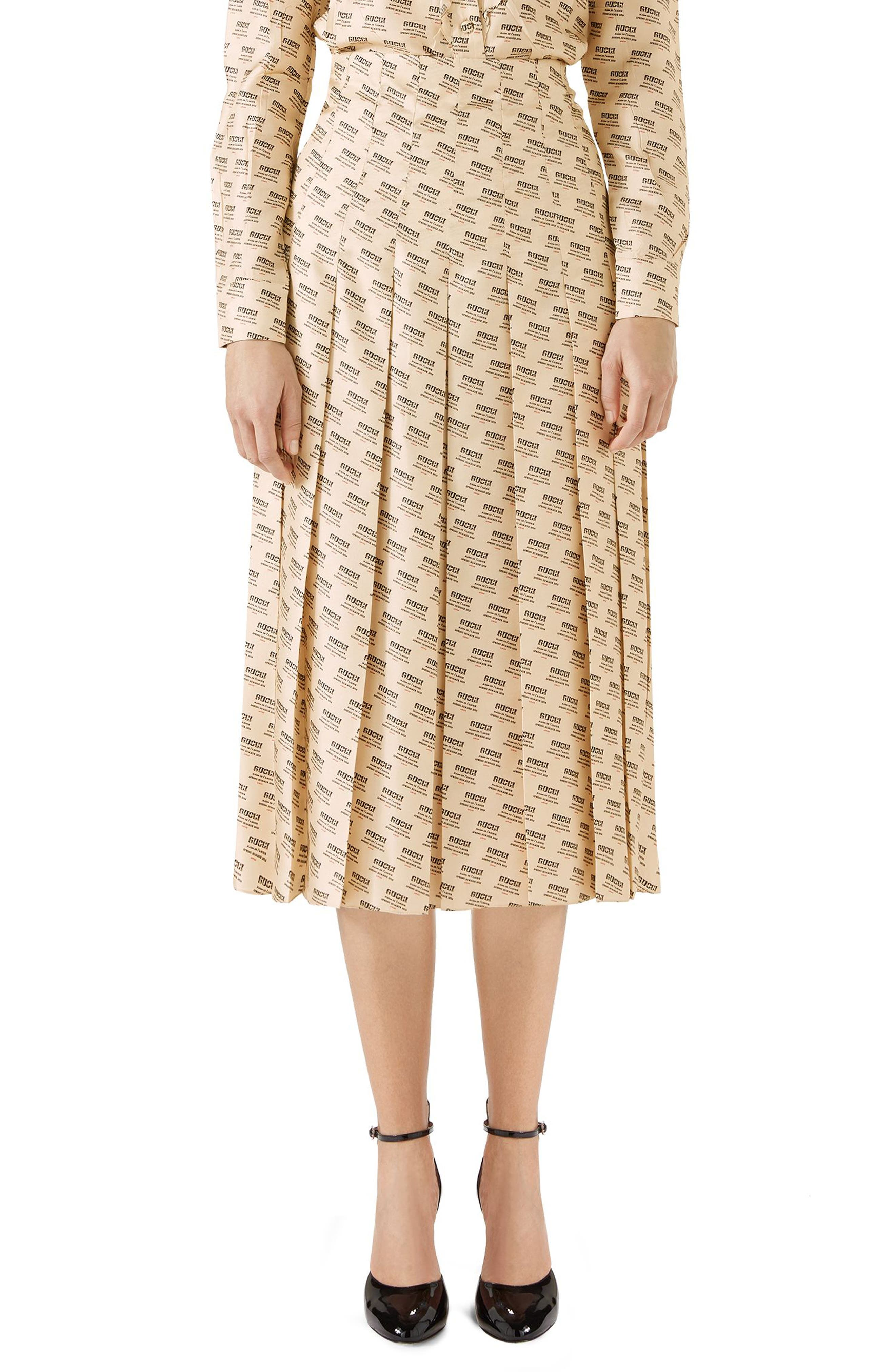 Main Image - Gucci Stamp Logo Pleated Silk Skirt