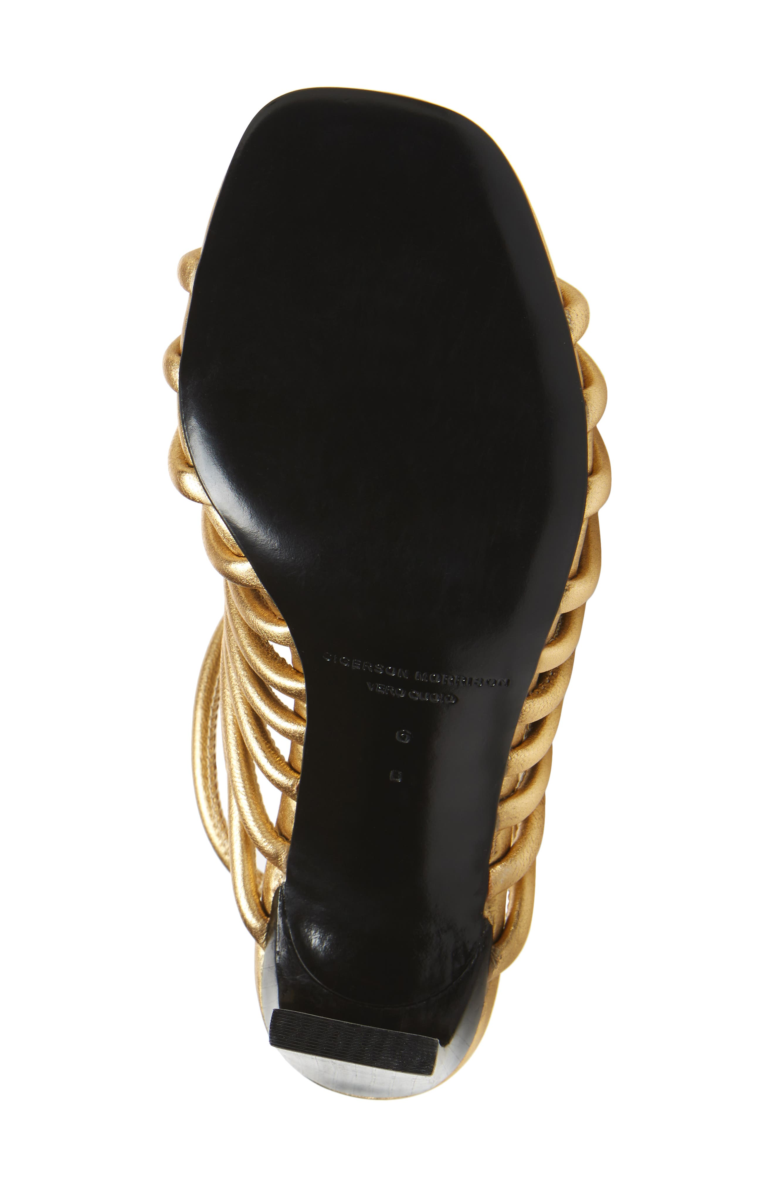 HH Caged Ankle Strap Sandal,                             Alternate thumbnail 6, color,                             Gold