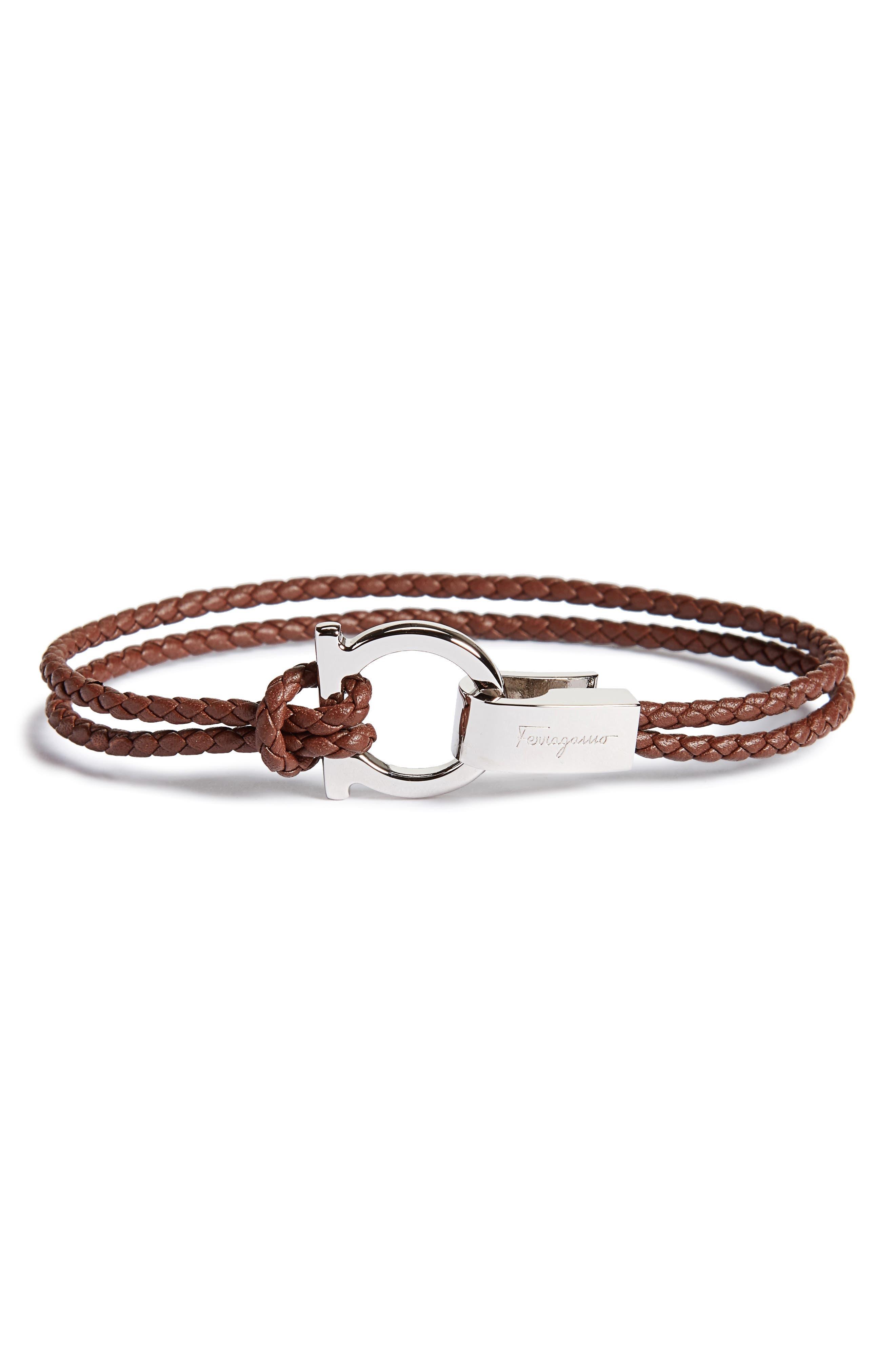 Double Braided Gancini Leather Bracelet,                             Main thumbnail 1, color,                             Bark Brown