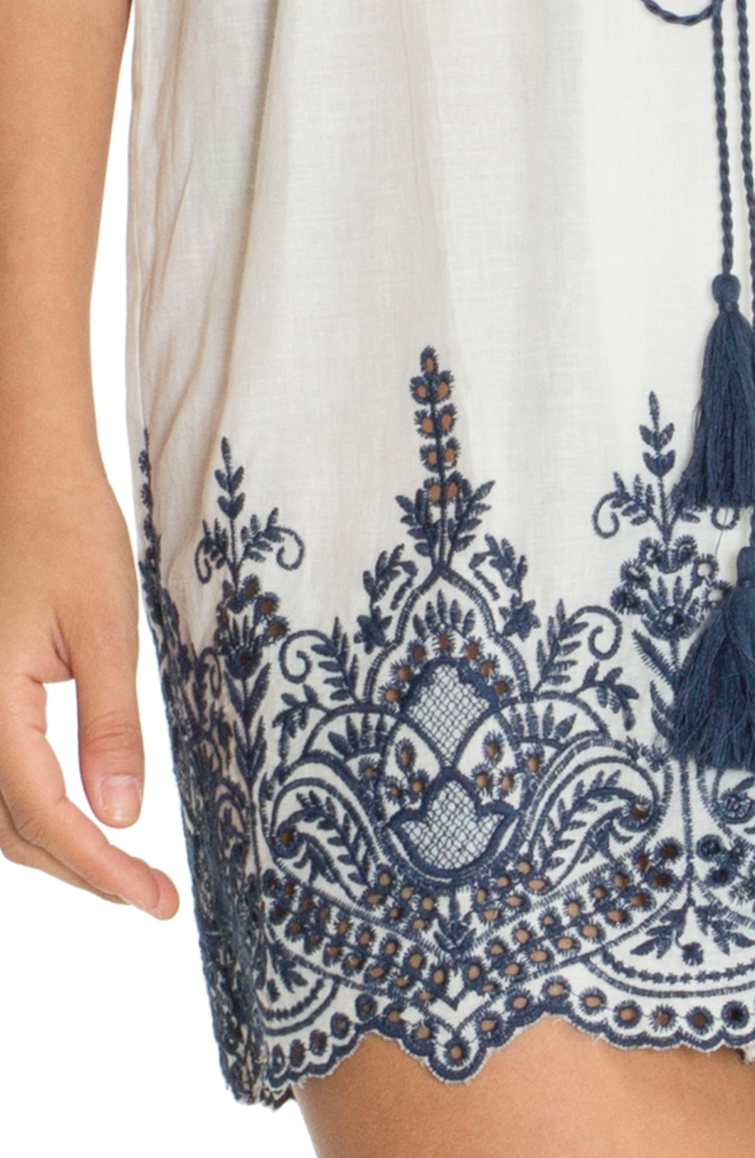 Embroidered Wrap,                             Alternate thumbnail 5, color,                             Ivory/ Navy